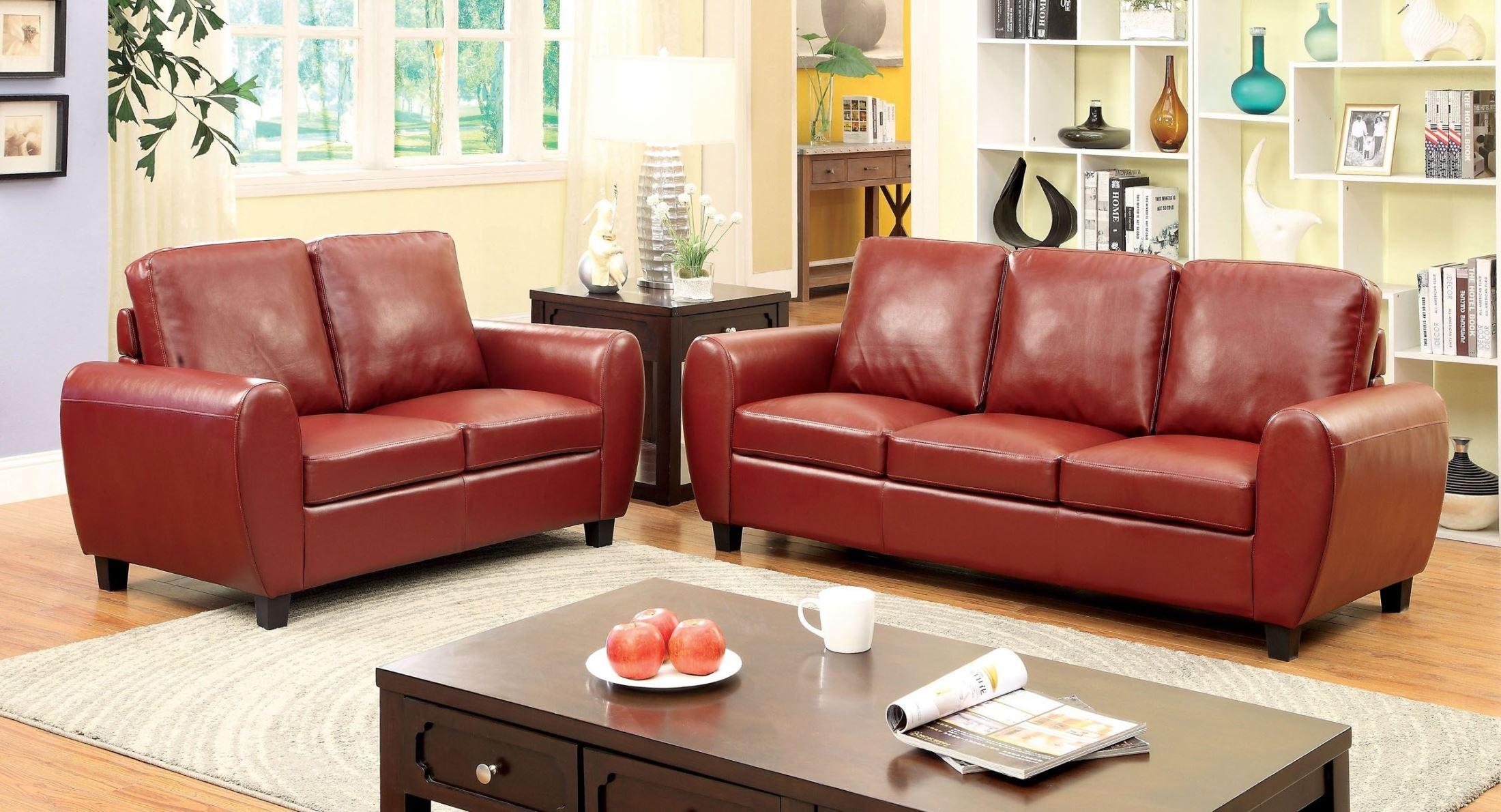 Hatton Red Living Room Set From Furniture Of America Cm6321rd Sf Coleman Furniture