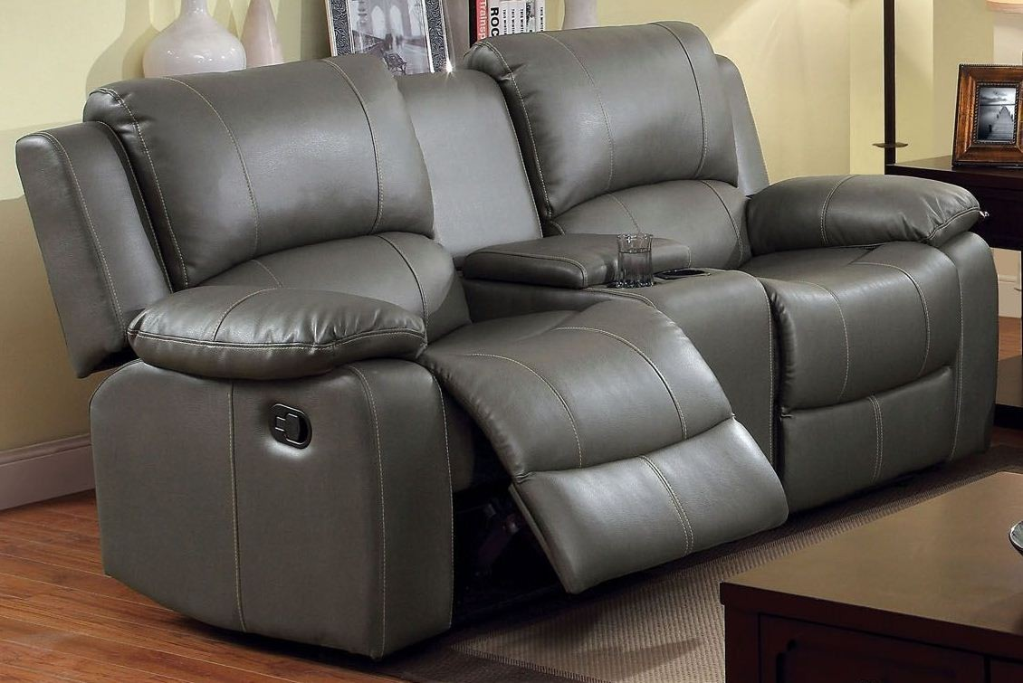 Sarles Gray Reclining Console Loveseat From Furniture Of America Cm6326 Lv Coleman Furniture