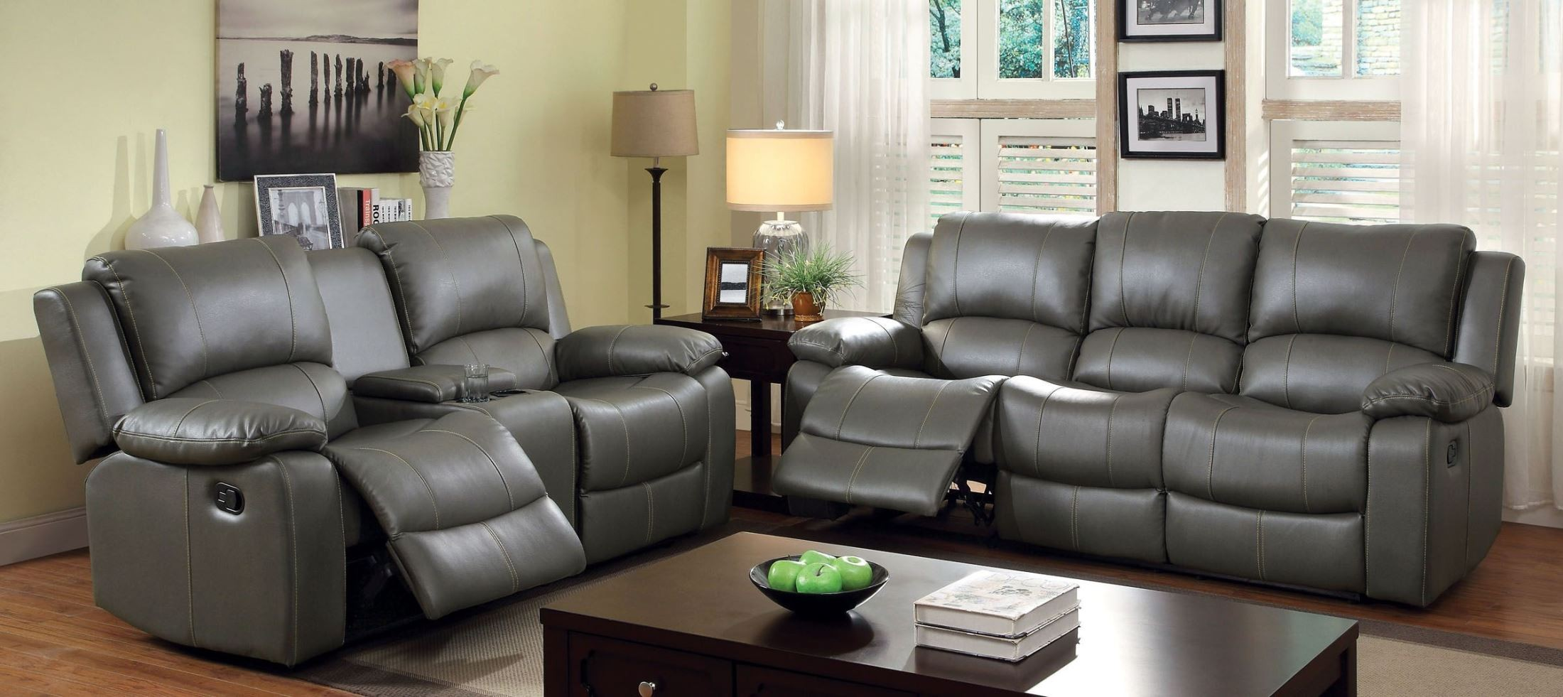 Sarles gray drop down table reclining living room set from for M s living room furniture
