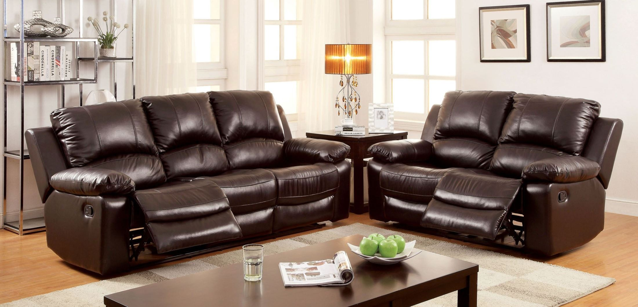 Davenport Top Grain Leather Match Reclining Sofa from Furniture of