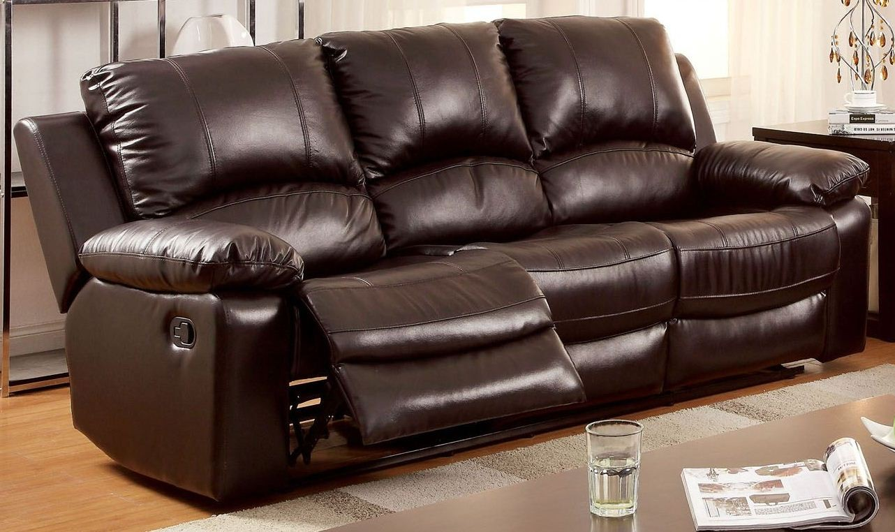 Davenport Top Grain Leather Match Reclining Sofa From
