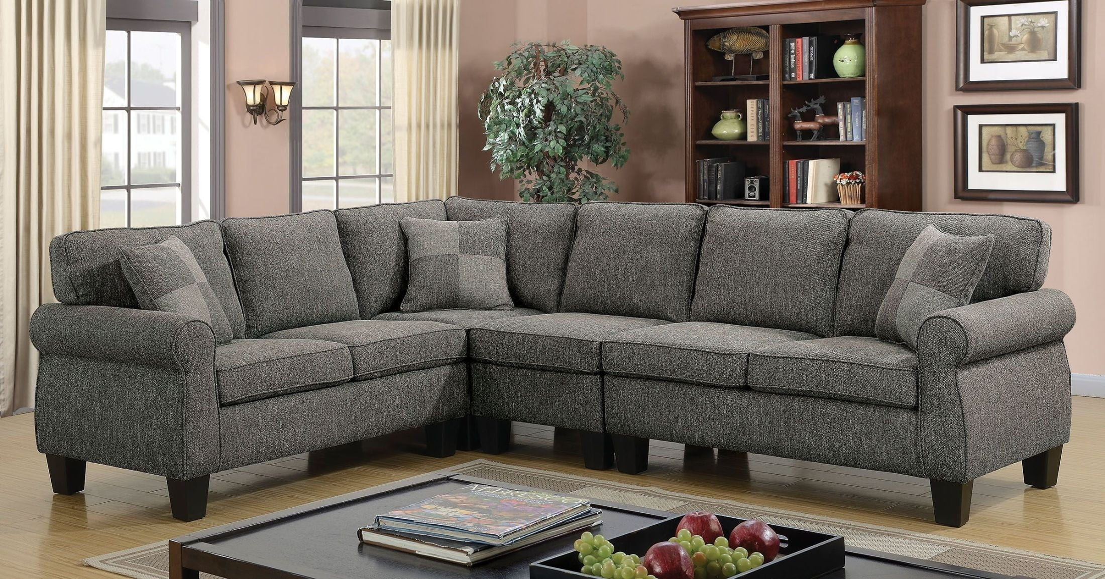Rhian Dark Gray Sectional from Furniture of America ...