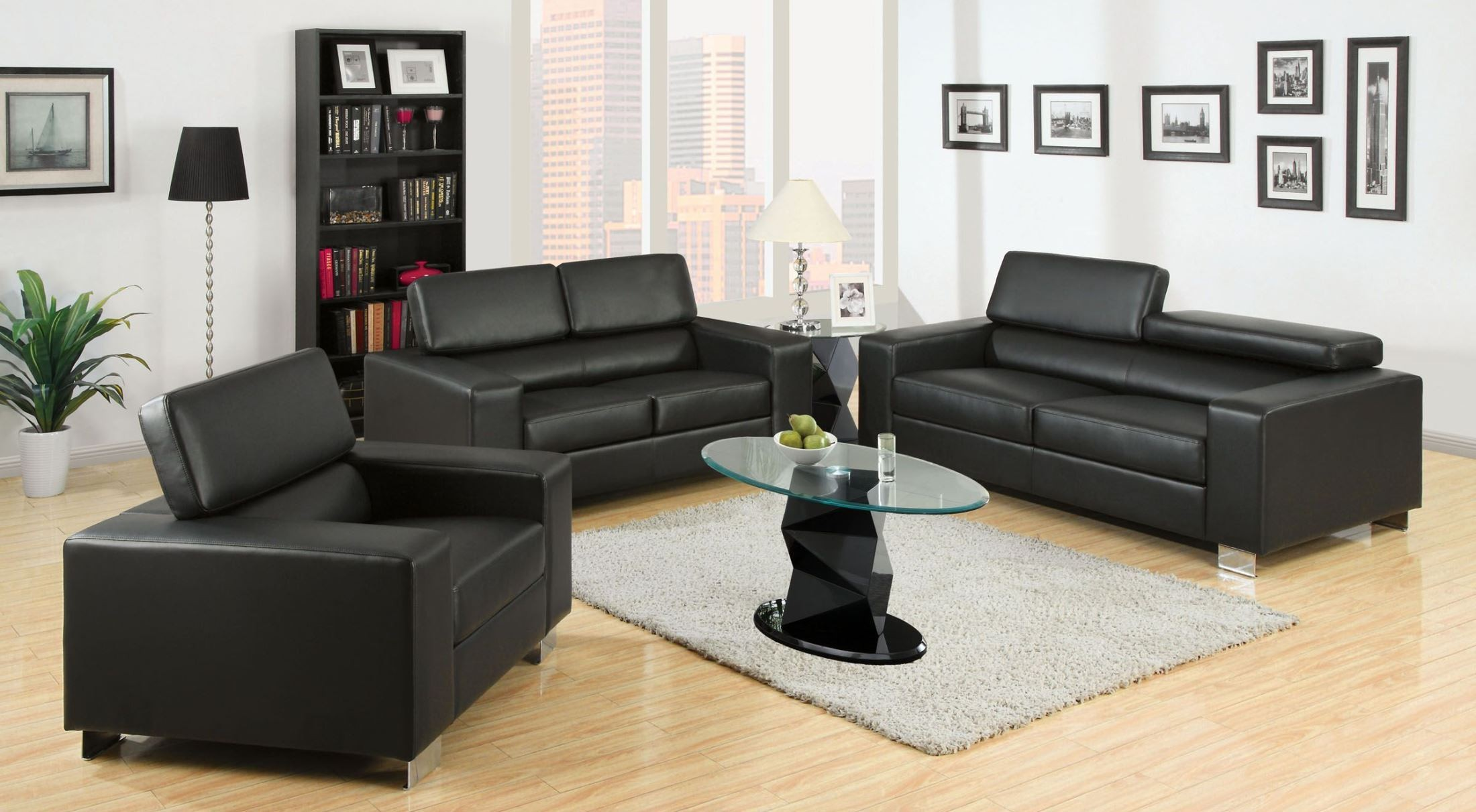 Makri black bonded leather match living room set from for Matching living room furniture sets