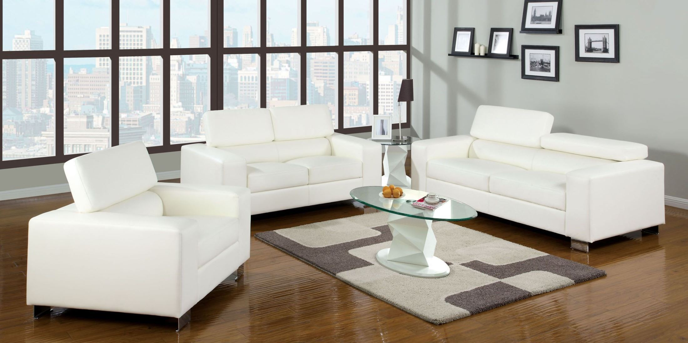 Makri white bonded leather match living room set from for Matching living room furniture sets