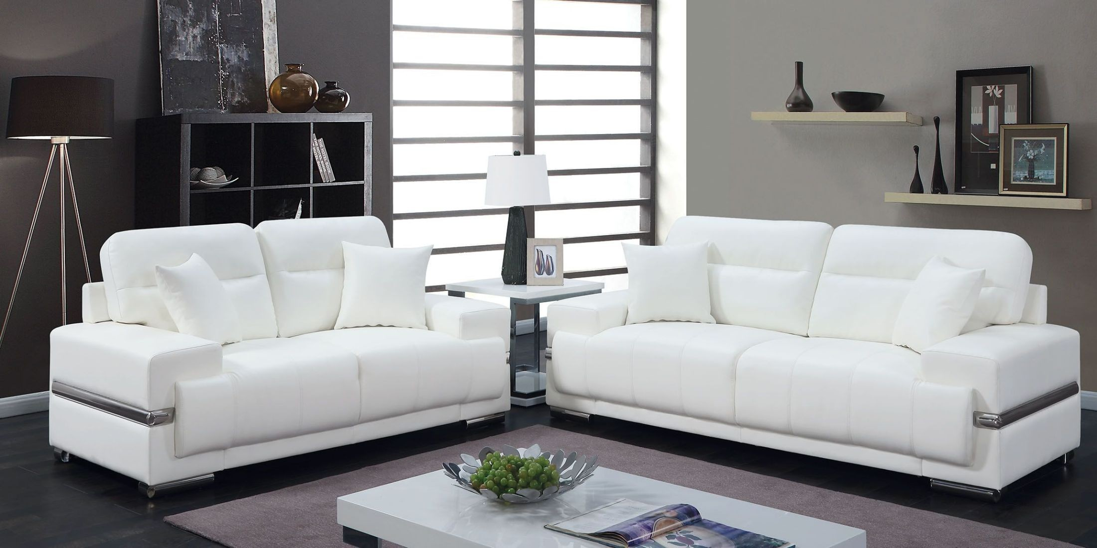 Zibak White Living Room Set from Furniture of America | Coleman ...