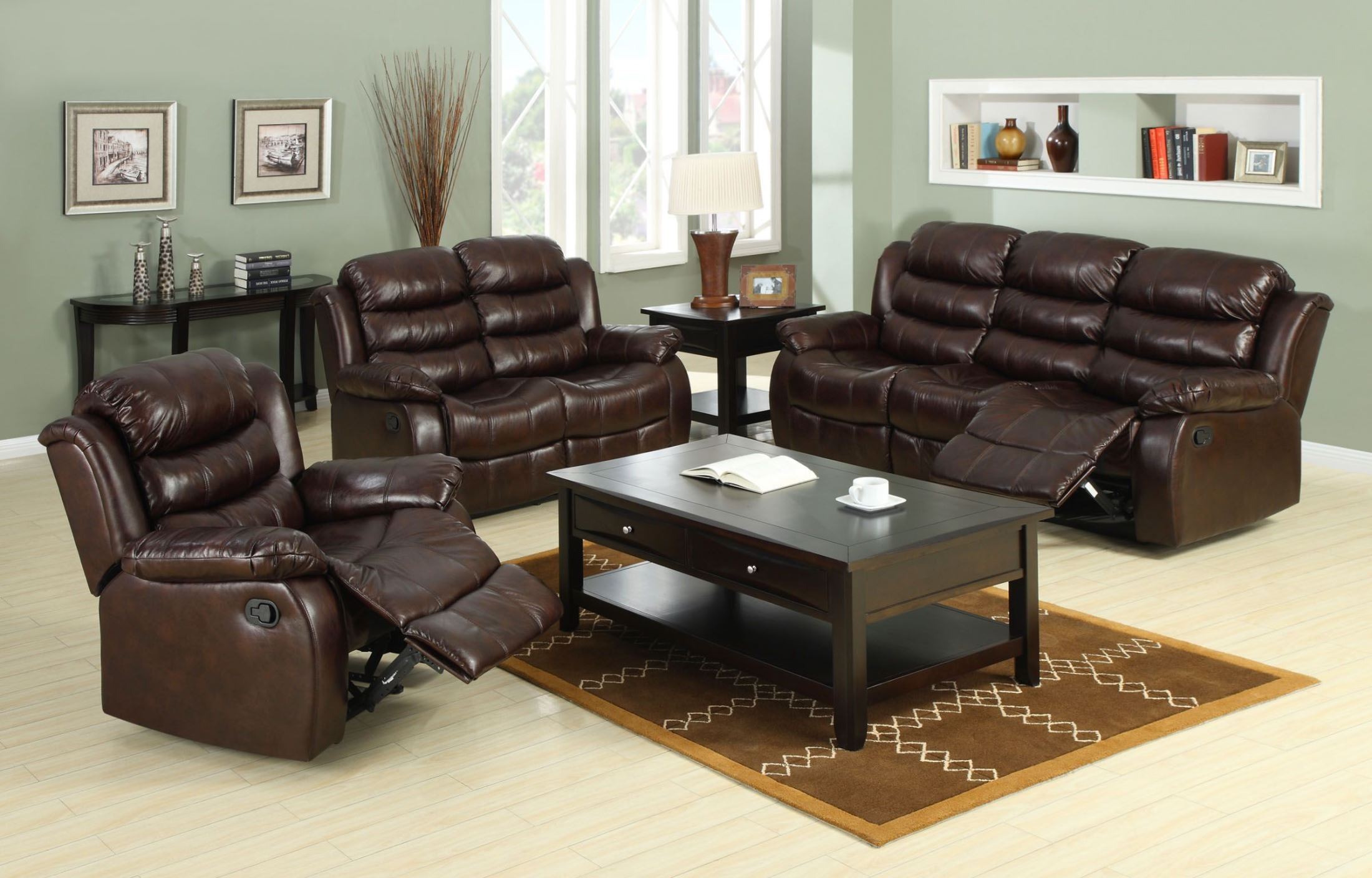 Berkshire rustic brown reclining living room set from - Rustic living room furniture sets ...