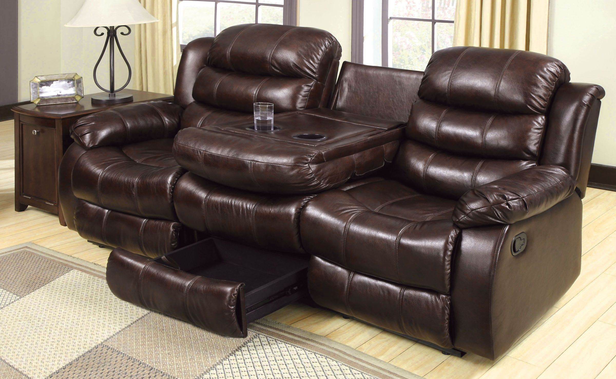 berkshire rustic brown reclining sofa with center console from furniture of america coleman. Black Bedroom Furniture Sets. Home Design Ideas