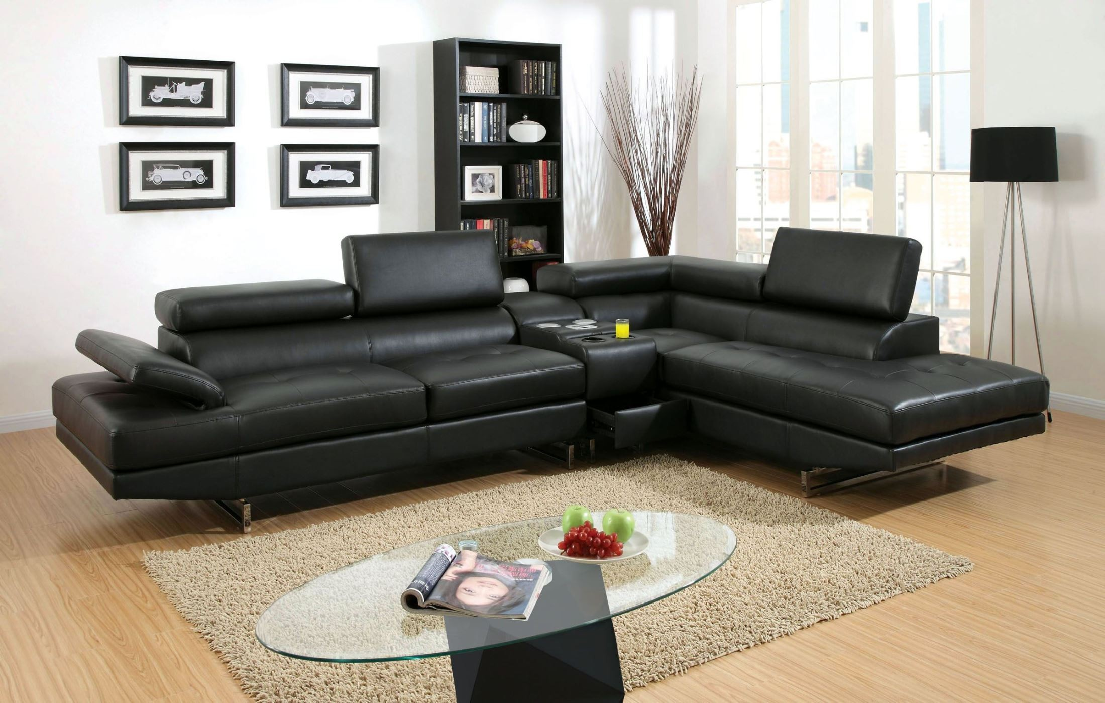 Kemi Black Bonded Leather Sectional from Furniture of America