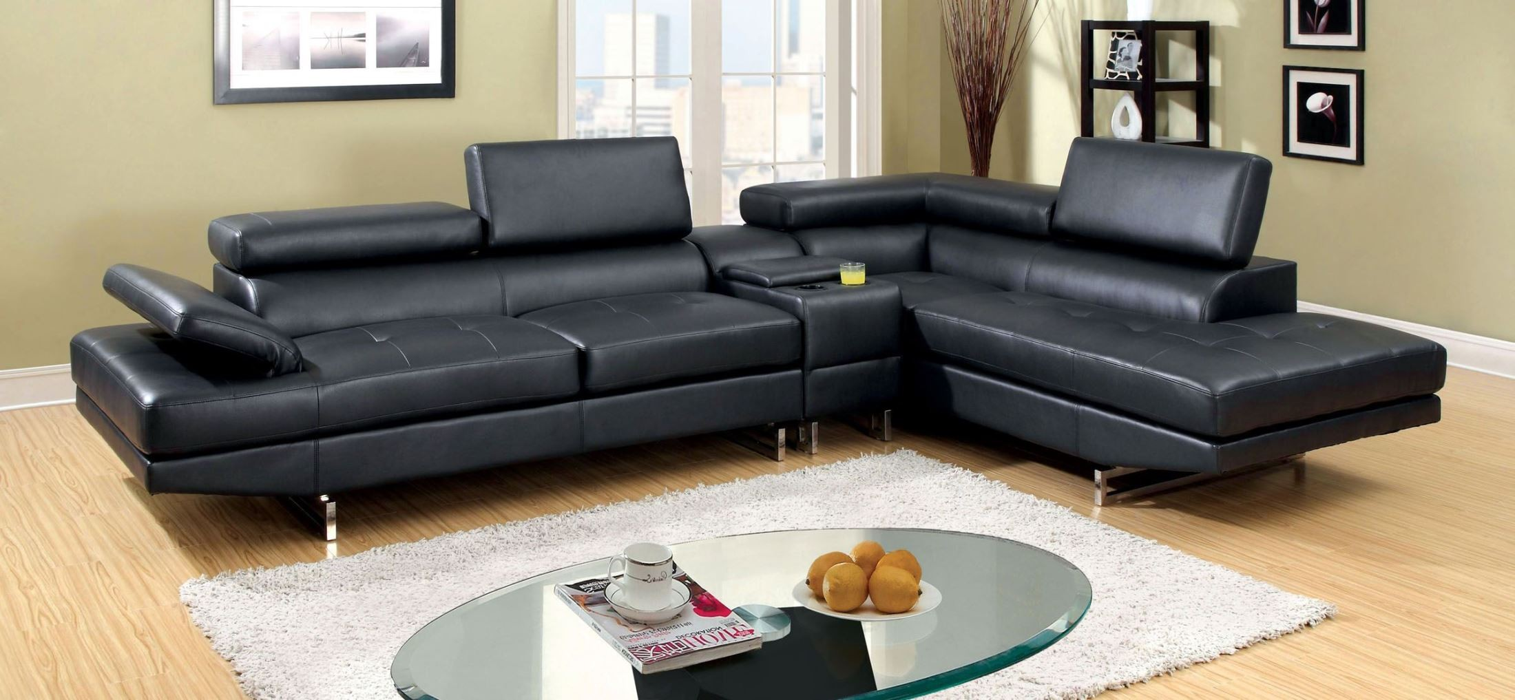 Kemi black bonded leather sectional from furniture of for Garrison 2 pc leather sectional sofa reviews