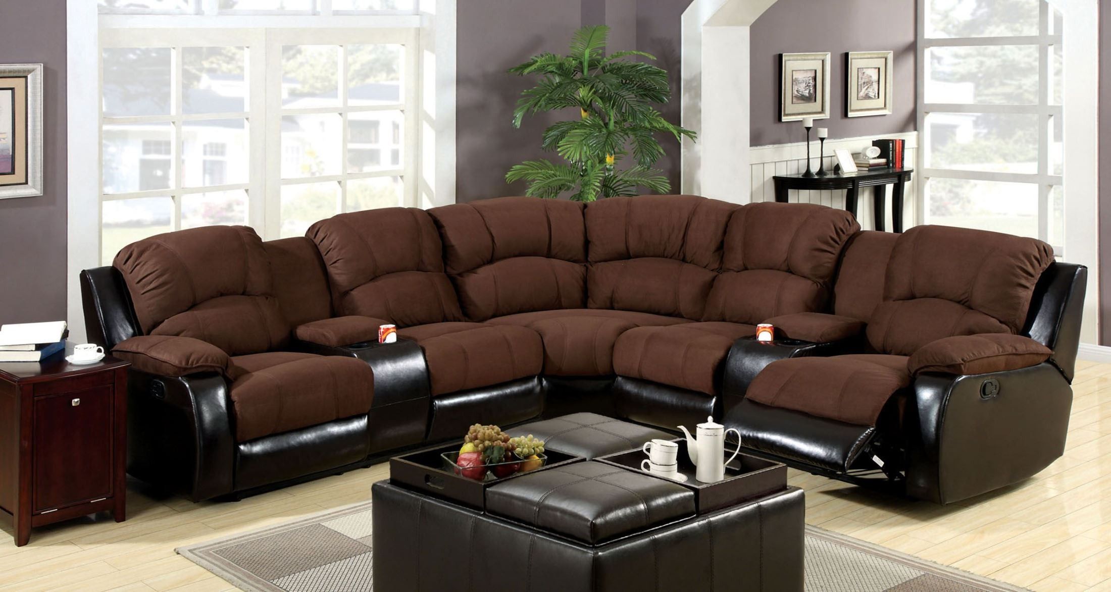 wolcott espresso leatherette reclining sectional from furniture of america cm6557 pk coleman. Black Bedroom Furniture Sets. Home Design Ideas
