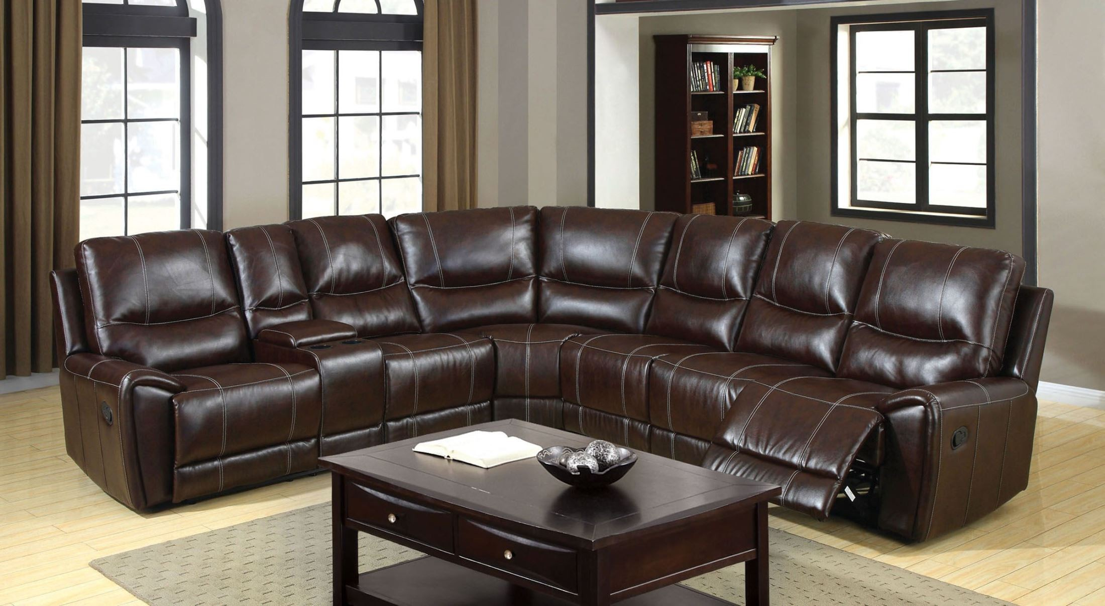Keystone Brown Bonded Leather Match Reclining Sectional from