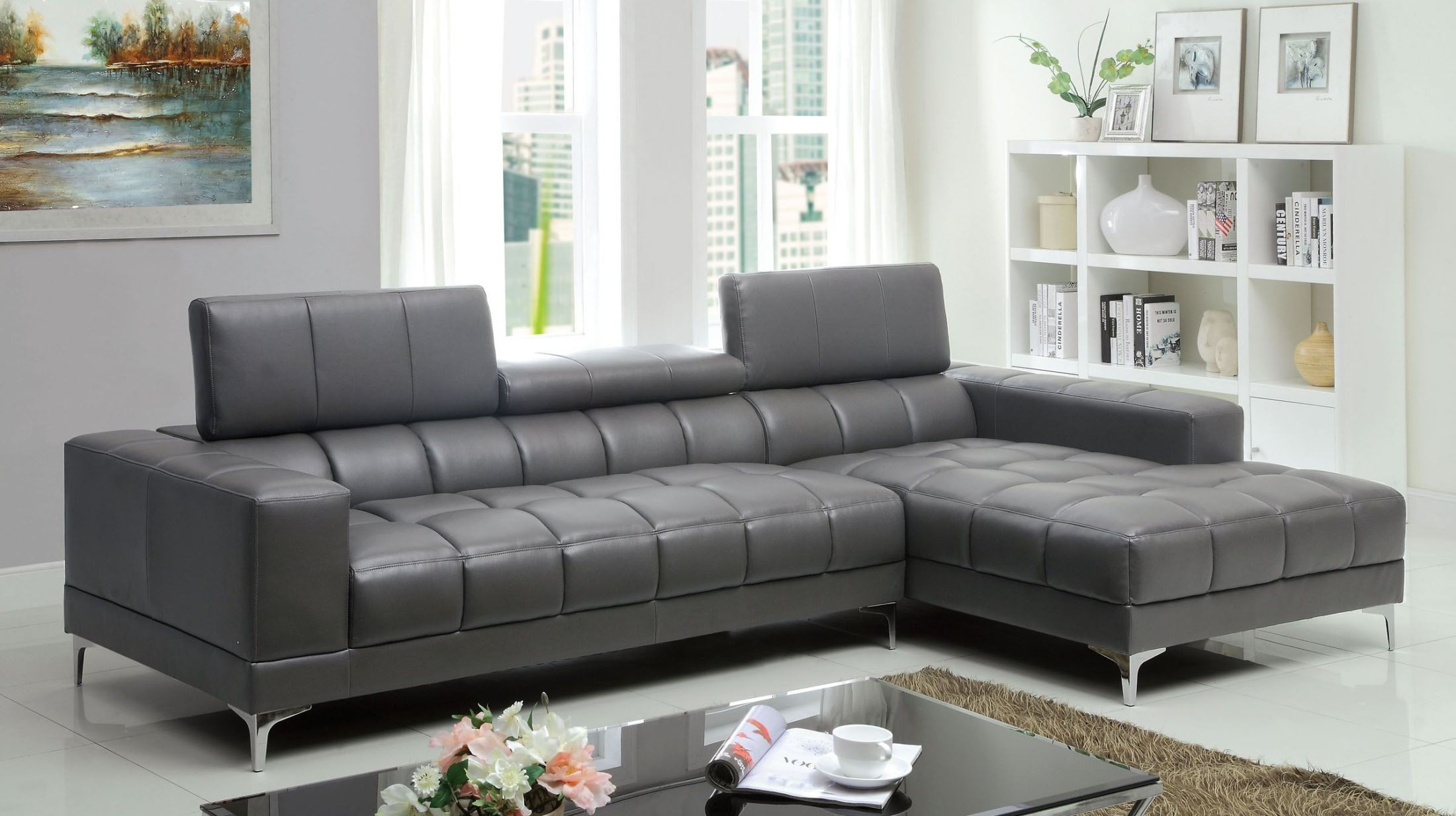 Bourdet II Gray Bonded Leather Match Sectional from Furniture of