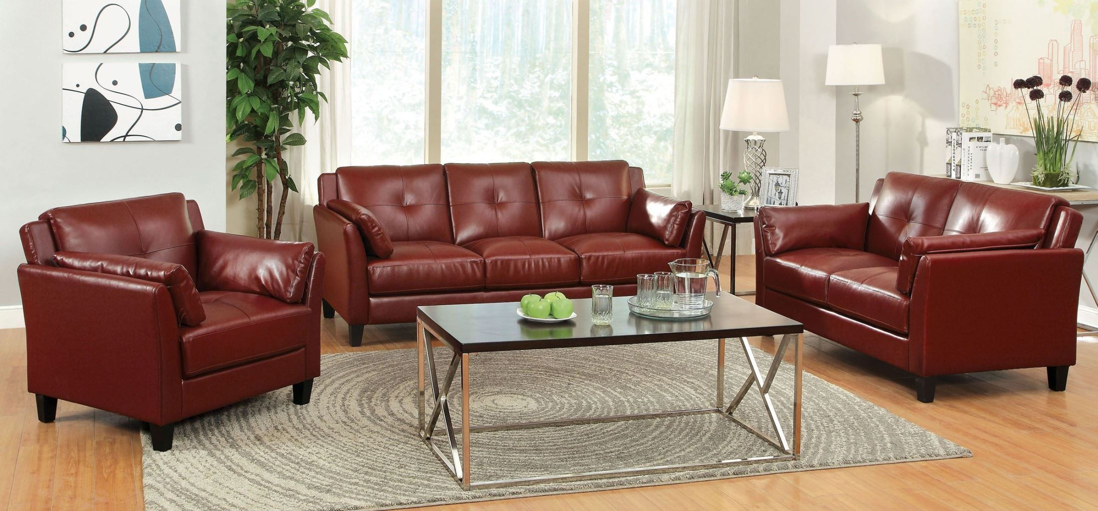 Pierre red living room set from furniture of america for Red living room set