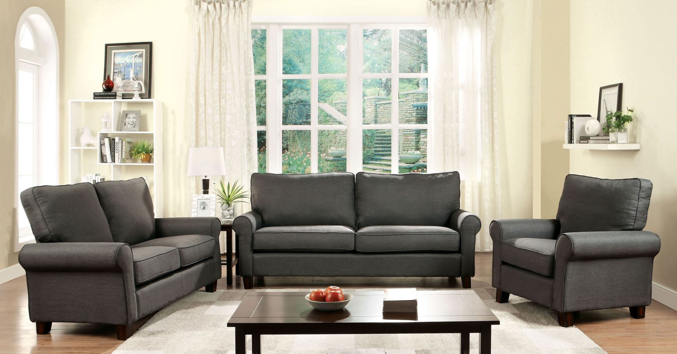 Hensel gray flax fabric living room set from furniture of for Grey front room furniture