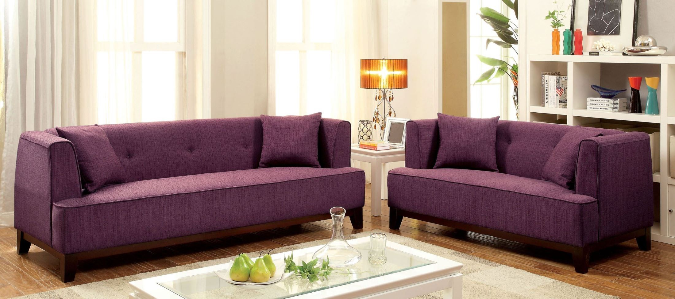 Sofia purple sofa from furniture of america cm6761pr sf for Purple sofa