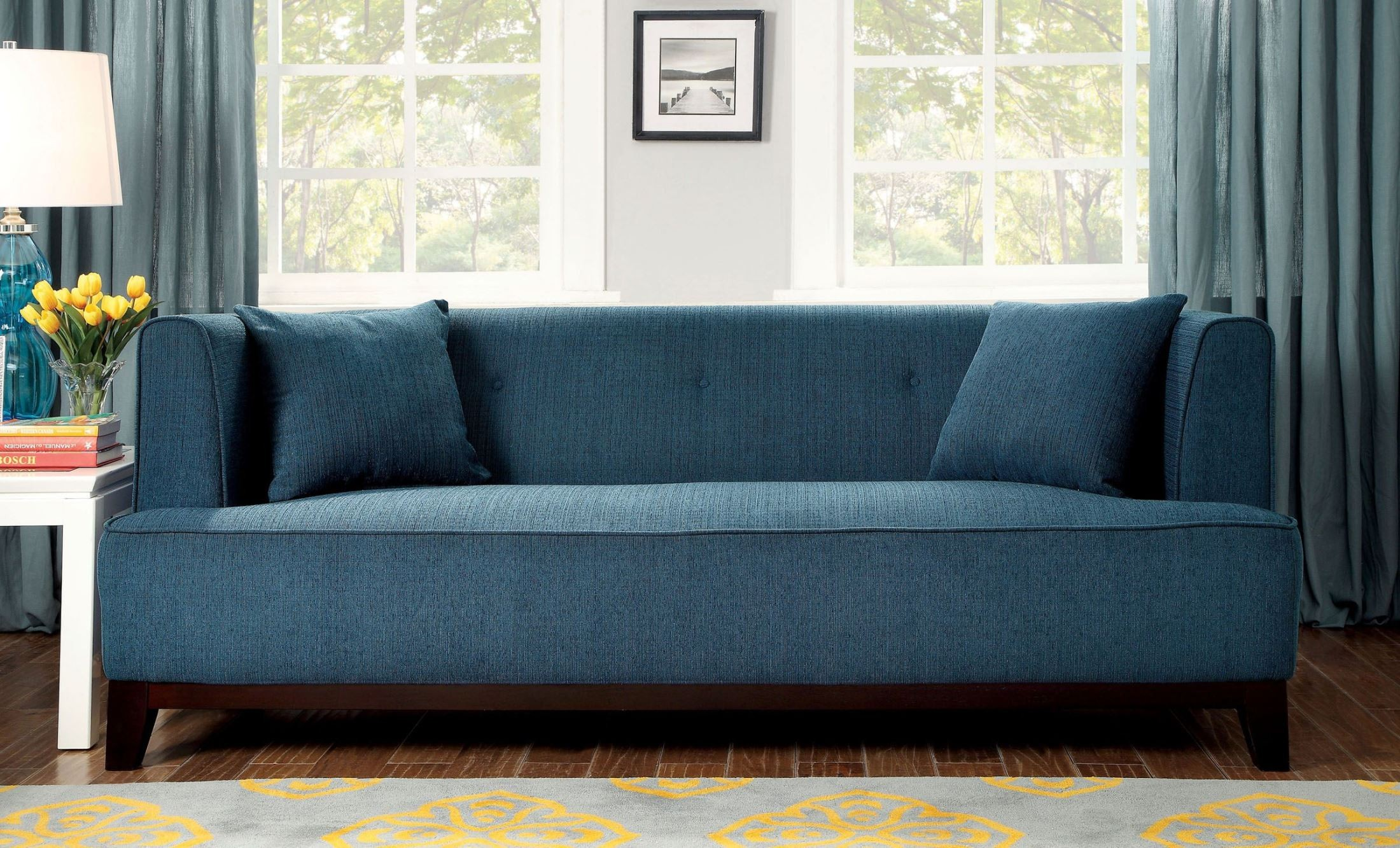 Sofia Dark Teal Sofa From Furniture Of America (CM6761TL SF PK) | Coleman  Furniture