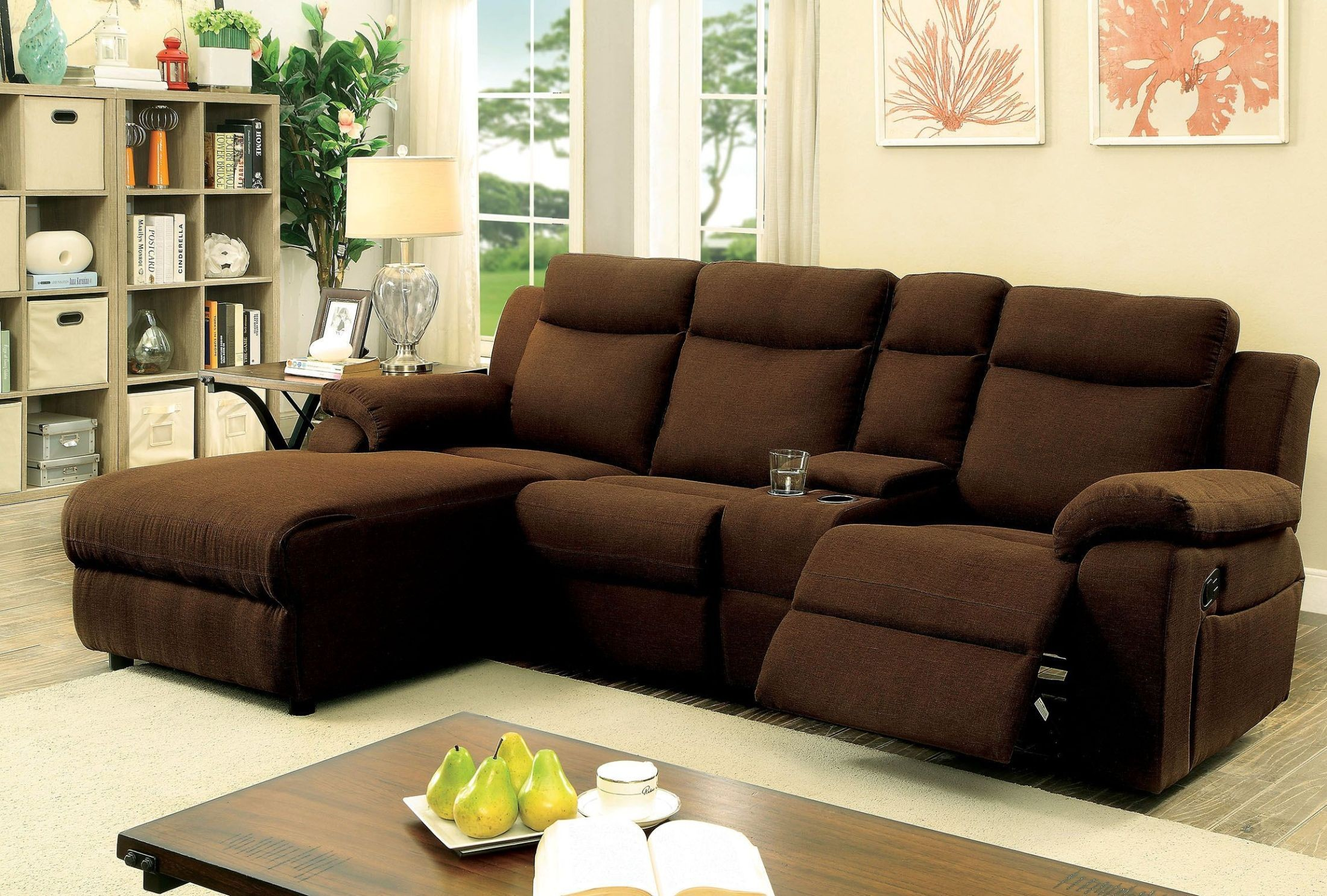 Kamryn Brown Reclining Sectional With Console from Furniture of