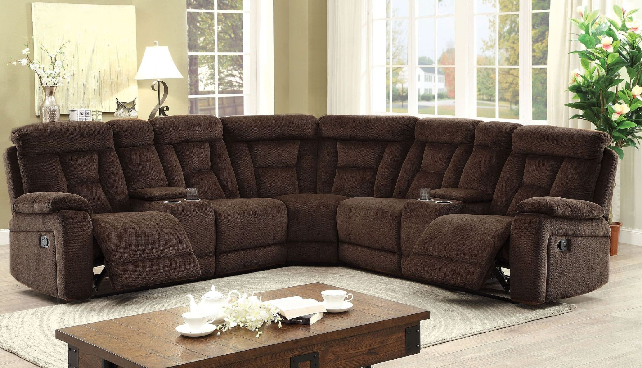 Maybell Brown Reclining Sectional from Furniture of America