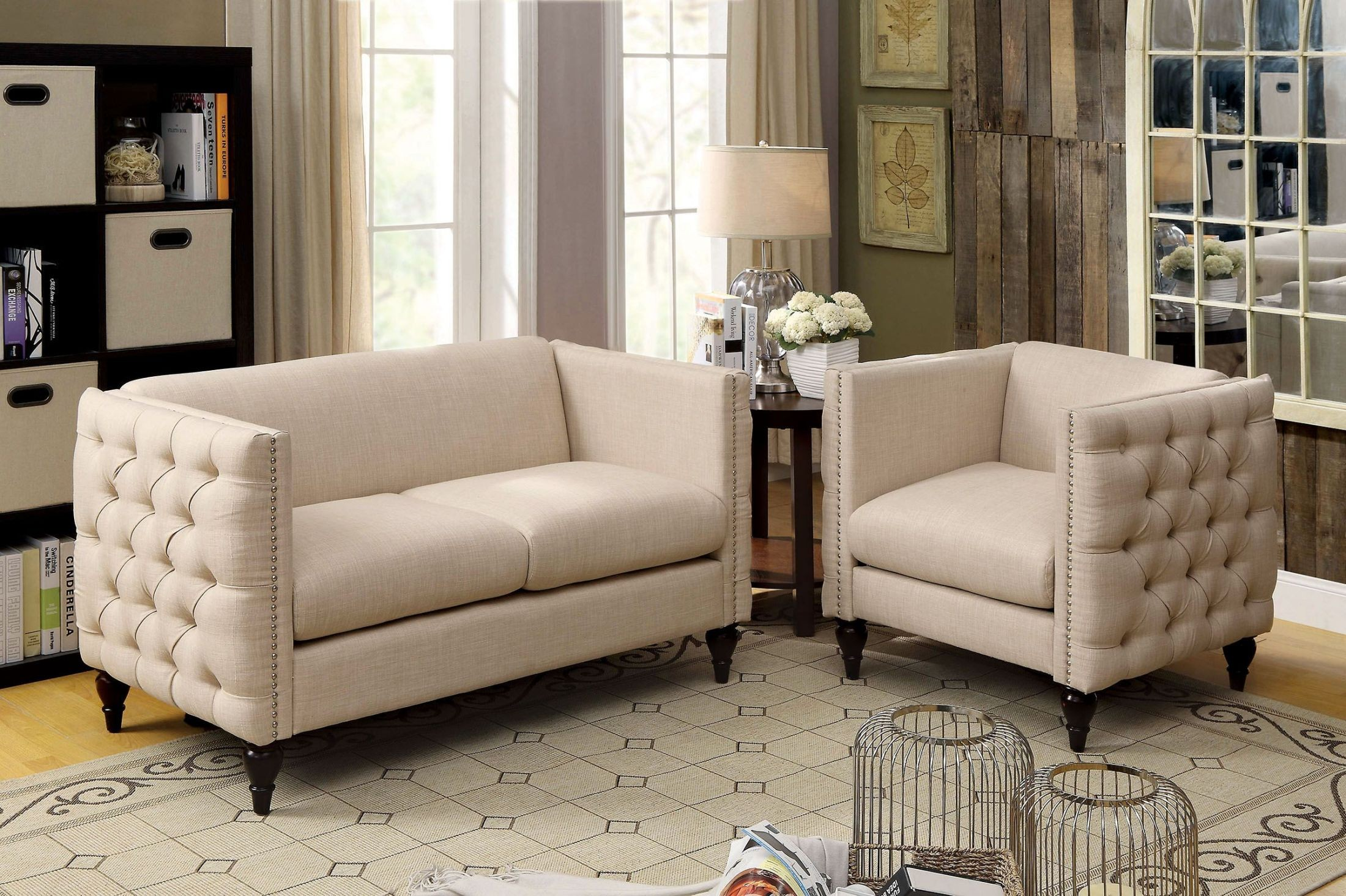 Emer Beige Living Room Set From Furniture Of America