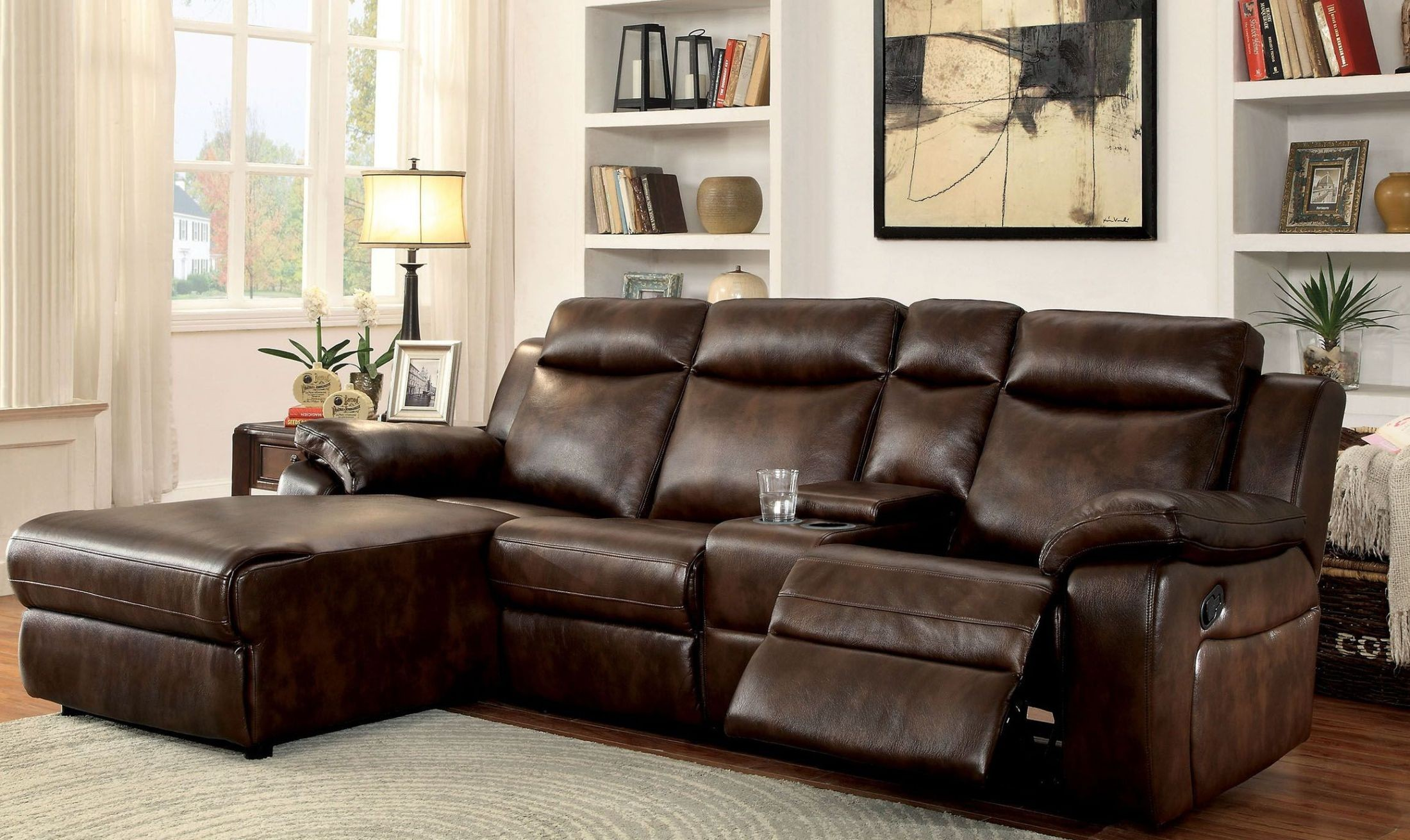 Hardy Brown LAF Reclining Sectional With Console from Furniture of