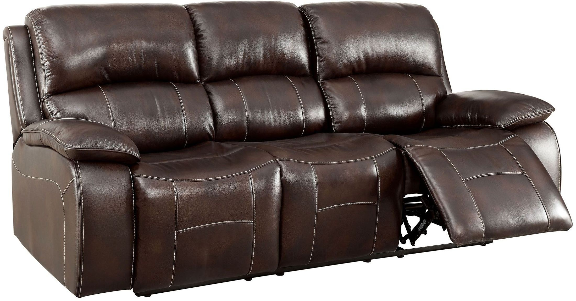 Ruth Brown Leather Reclining Sofa from Furniture of America