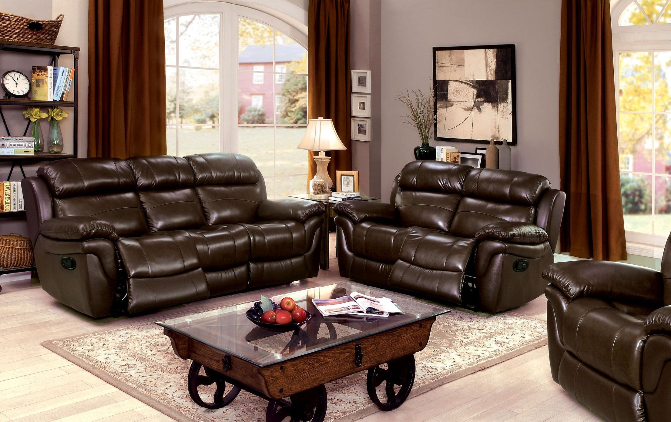 justine brown leather reclining living room set from furniture of america coleman furniture. Black Bedroom Furniture Sets. Home Design Ideas