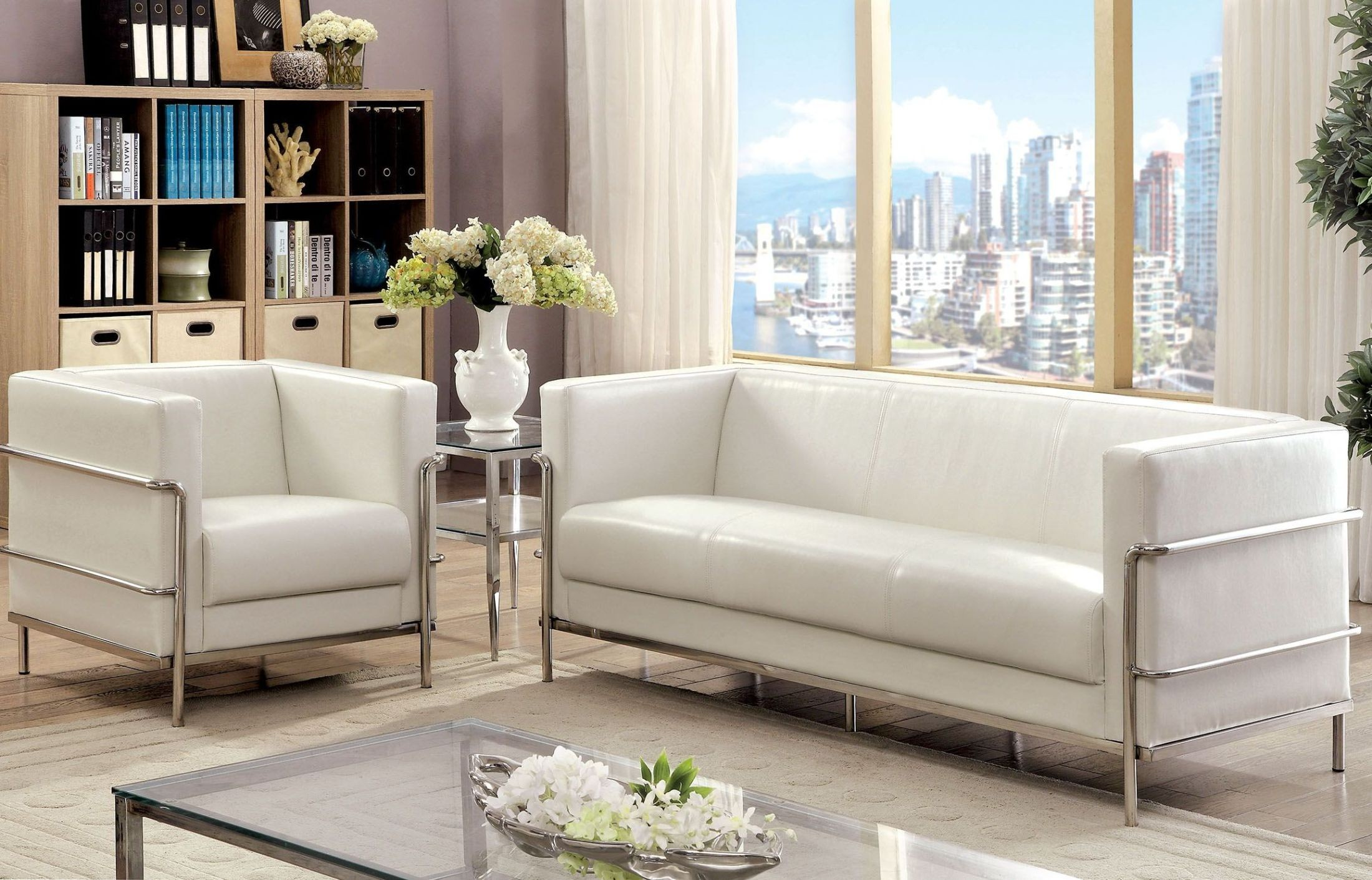 Leifur white living room set from furniture of america for White living room set