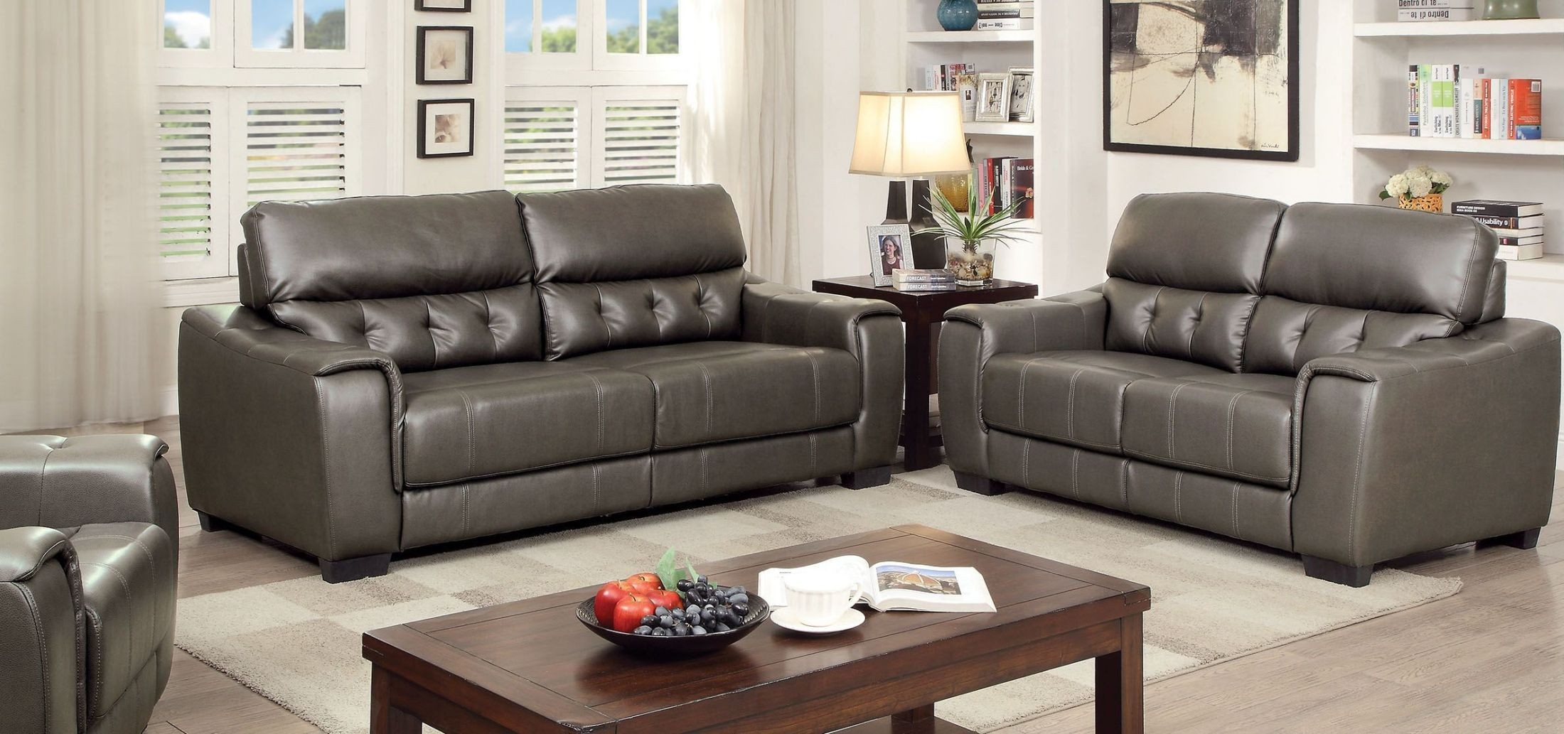 Randa dark gray living room set from furniture of america for Gray living room black furniture