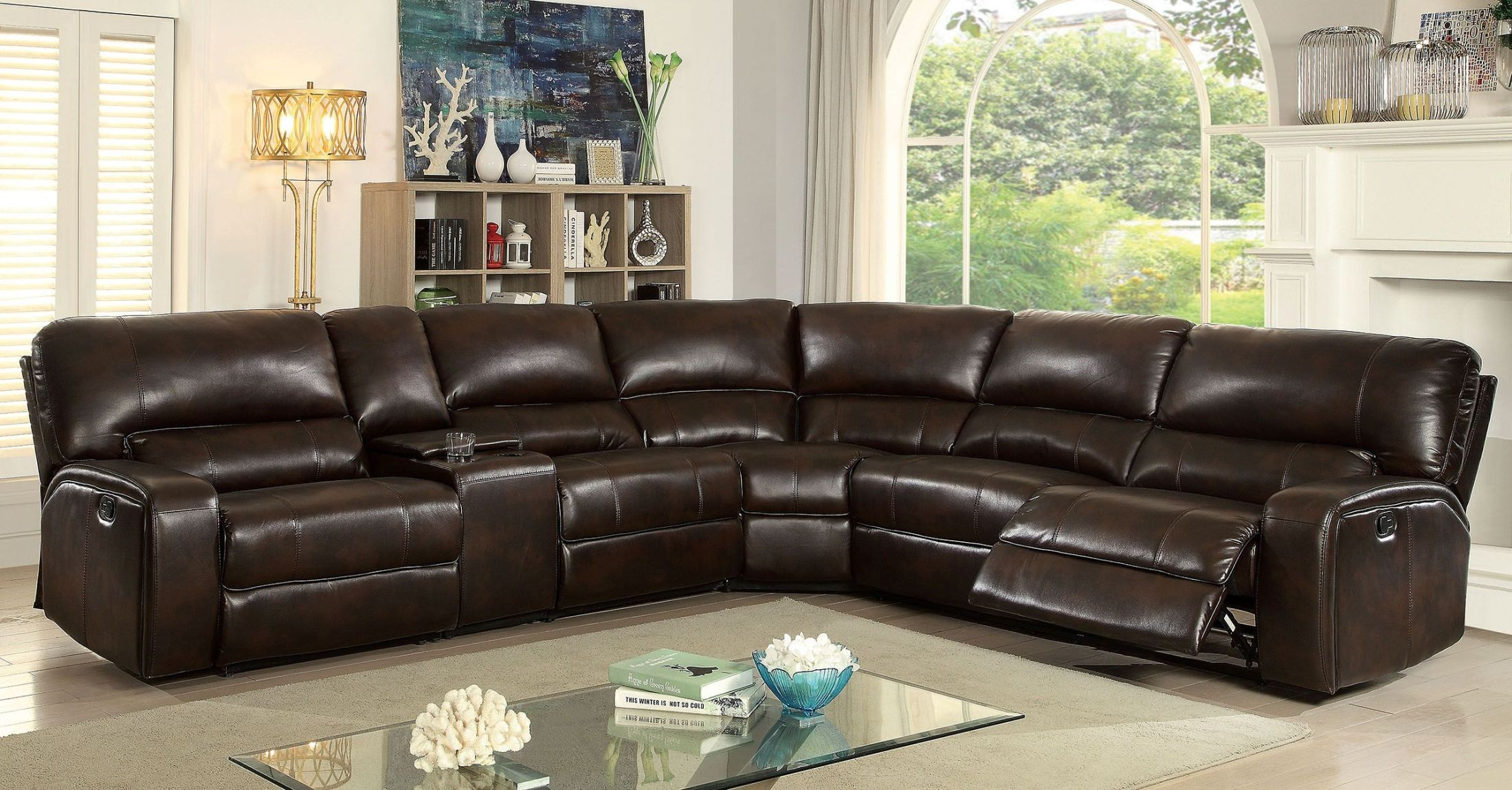jolene brown reclining sectional with console from furniture of america coleman furniture. Black Bedroom Furniture Sets. Home Design Ideas