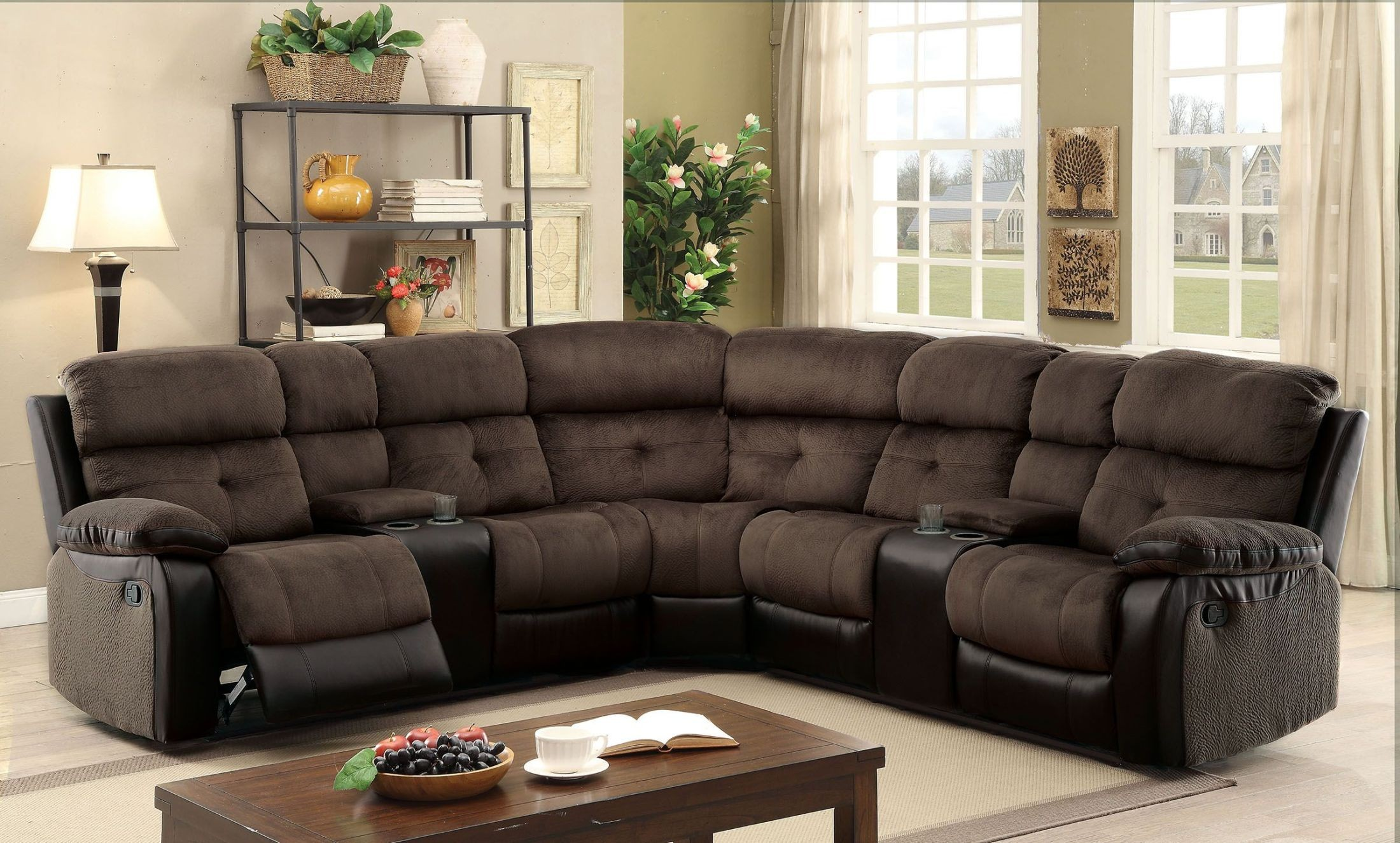 Hadley Ii Espresso Reclining Sectional from Furniture of America