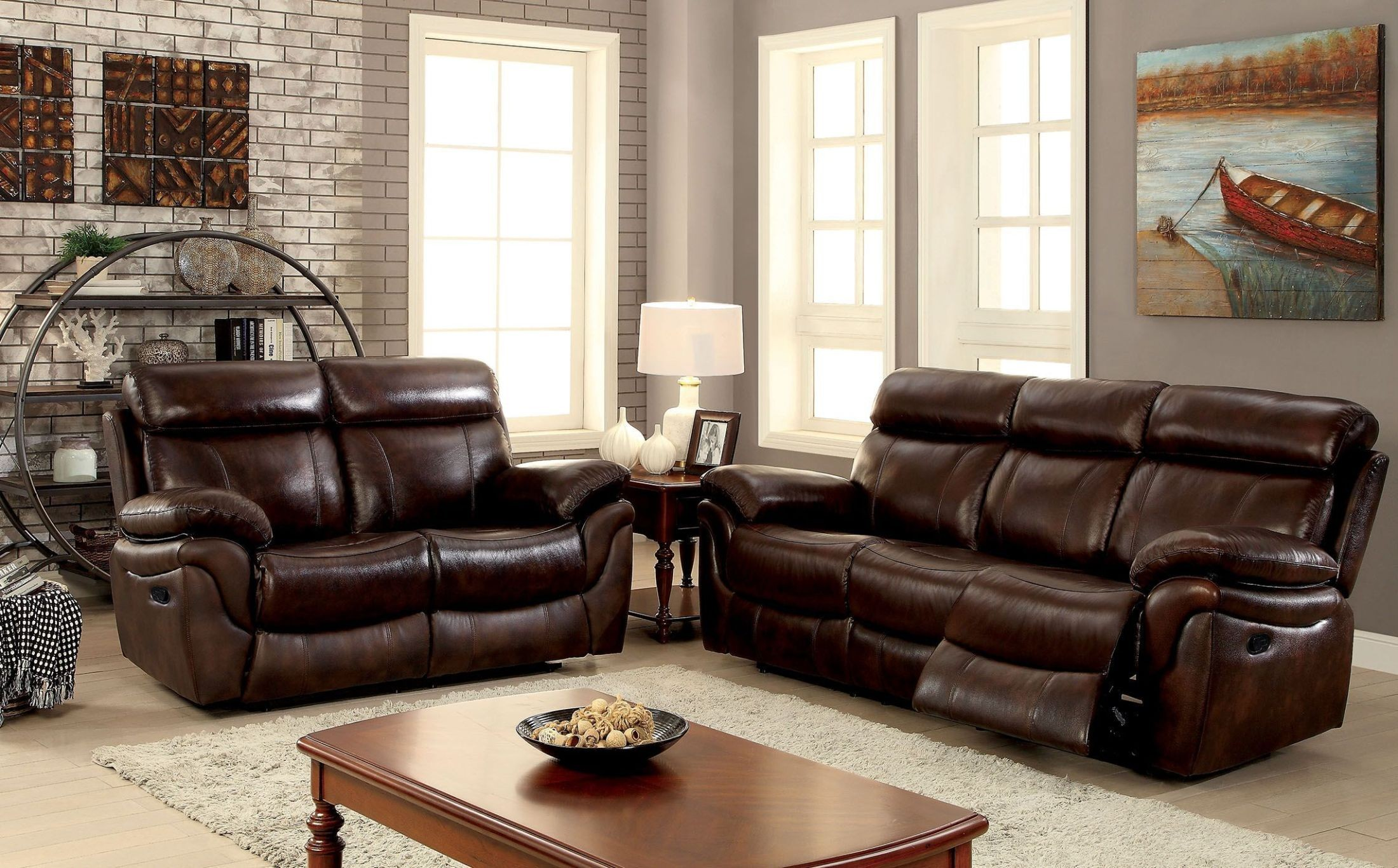 Kinsley brown reclining living room set from furniture of for Brown living room set