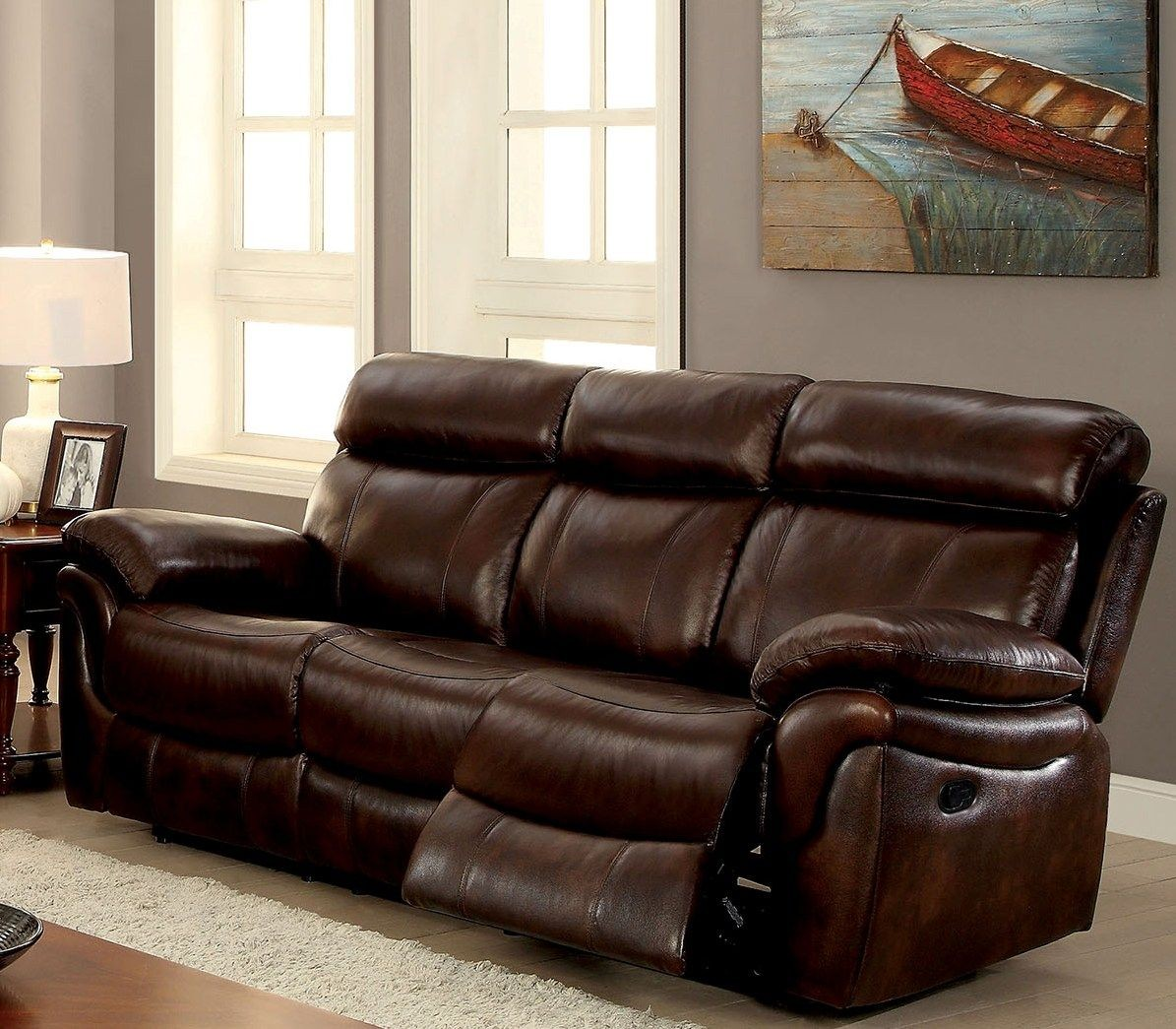 brown reclining sofa