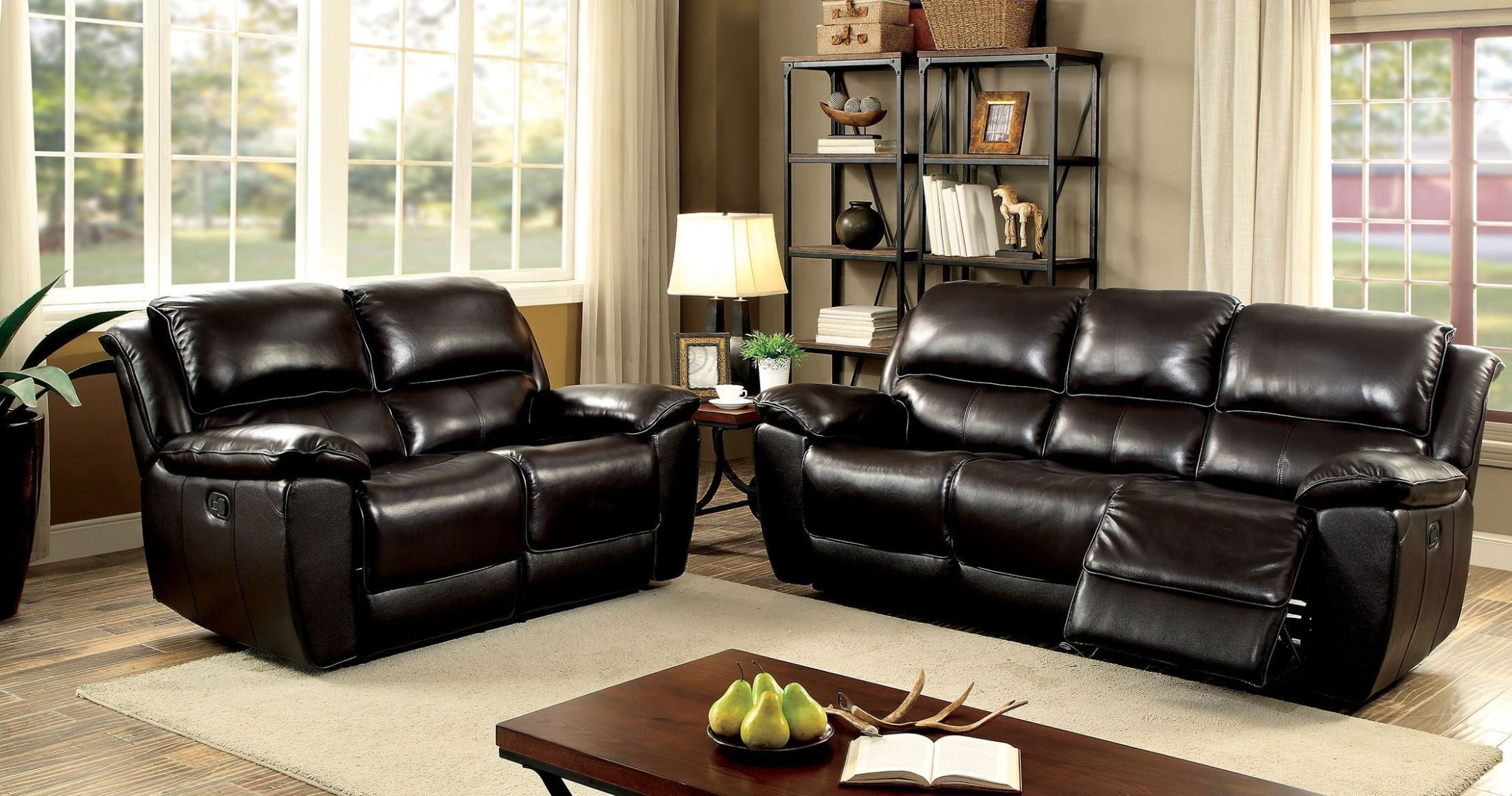 Keara dark brown reclining living room set from furniture for Dark brown living room set