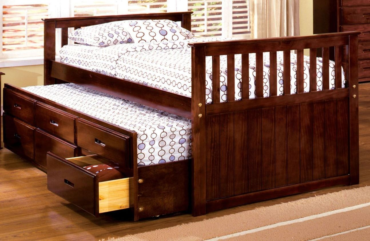 Bella cherry twin captain trundle storage bed from for Furniture of america mattress