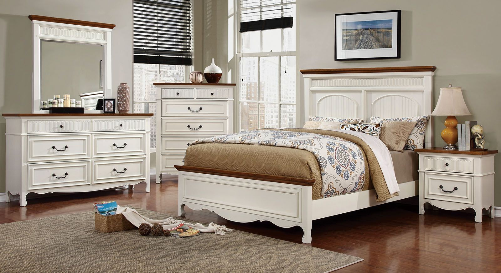 Galesburg white and oak bedroom set from furniture of for Oak bedroom furniture