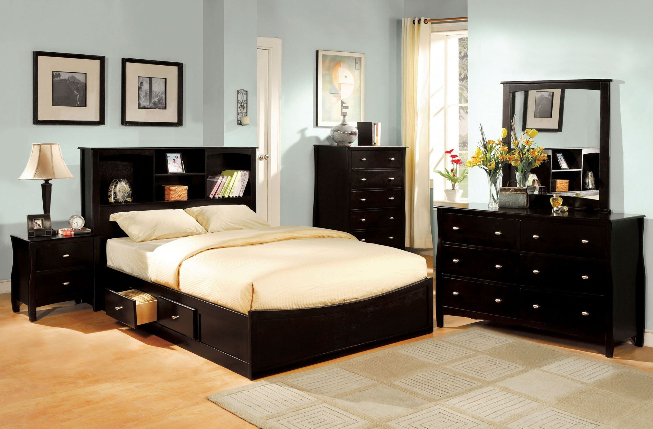 Brooklyn Espresso Youth Platform Bookcase Bedroom Set From Furniture Of America Cm7053f Bed