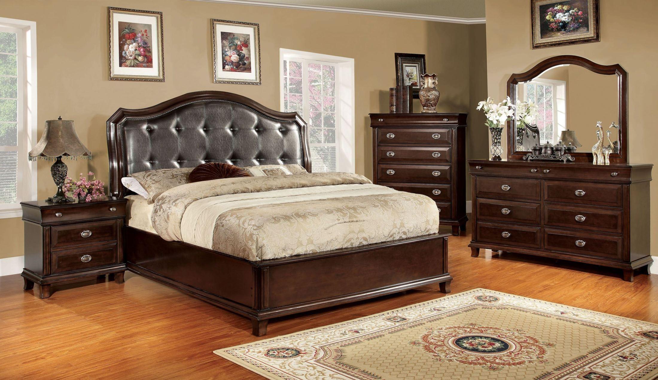 Arden Brown Cherry Faux Leather Platform Bedroom Set