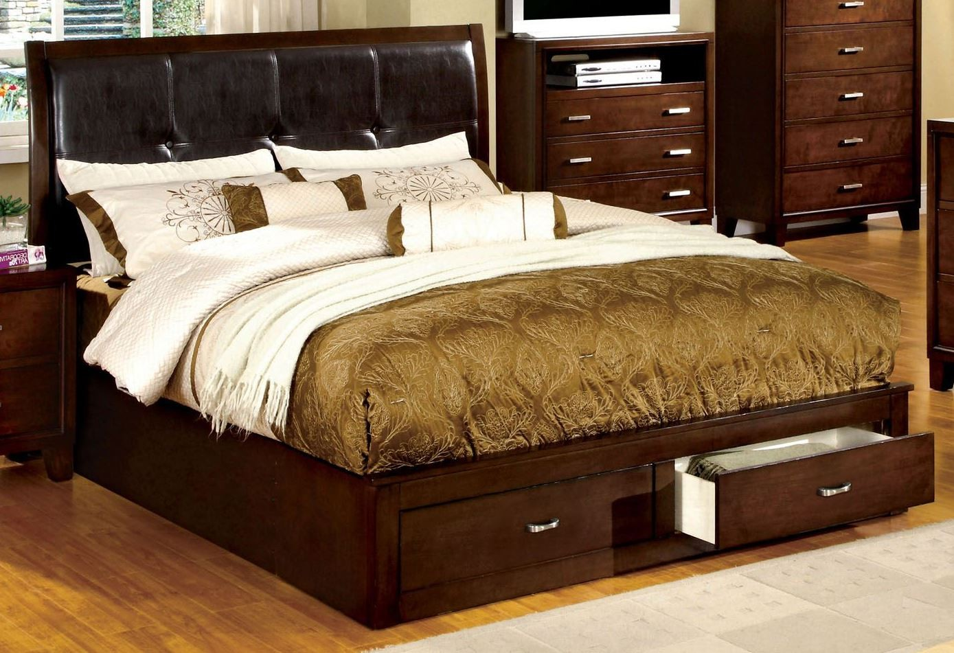 Enrico Iii Brown Cherry Leatherette Cal King Storage Bed From Furniture Of America Cm7066ck