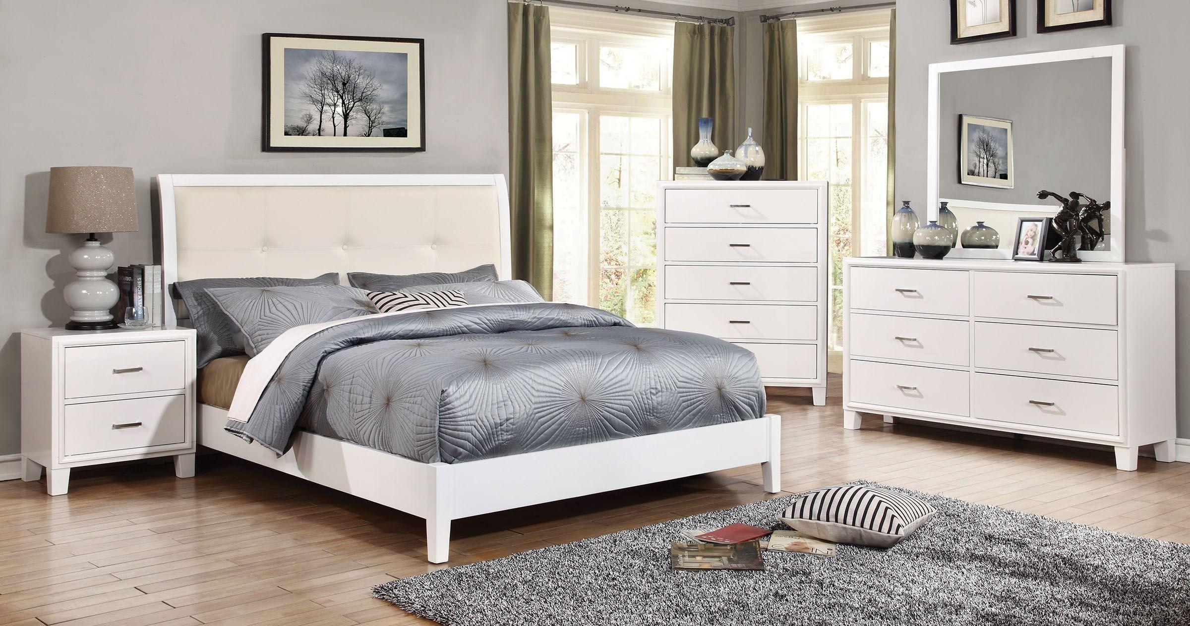 Enrico I White Upholstered Bedroom Set From Furniture Of America Coleman Furniture