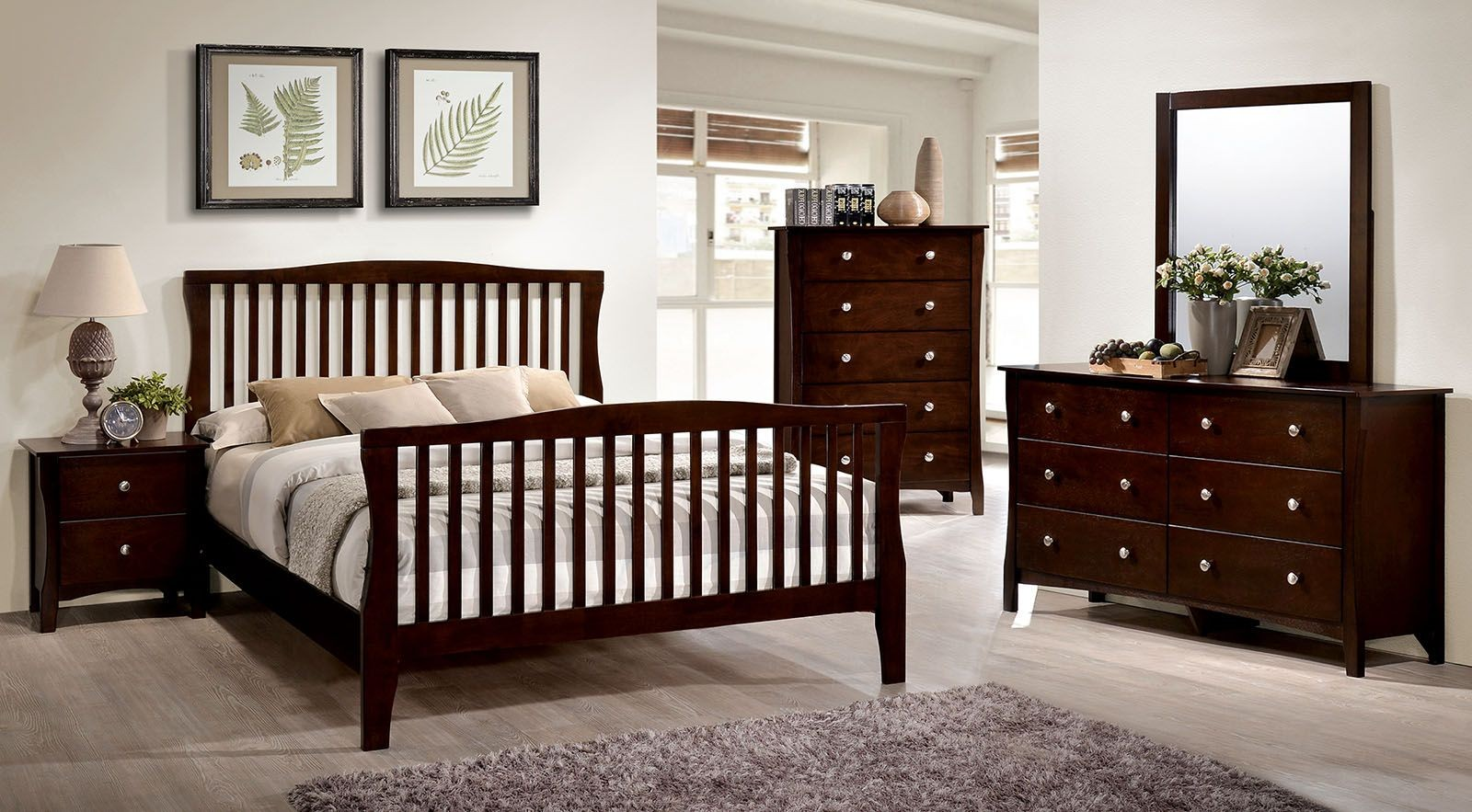 Riggins Brown Cherry Panel Bedroom Set From Furniture Of America Coleman Furniture
