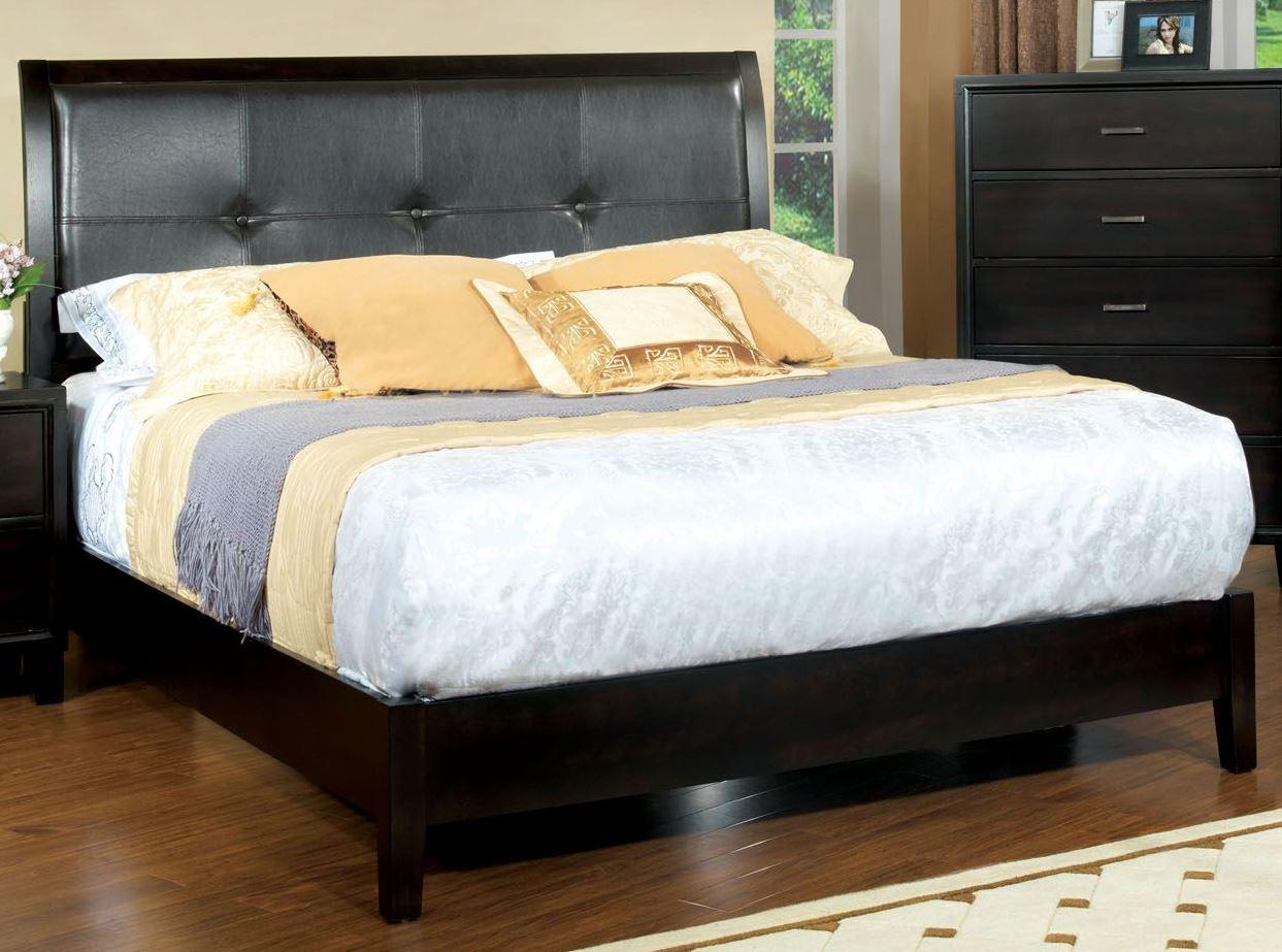 Enrico I Espresso Leatherette King Platform Bed From