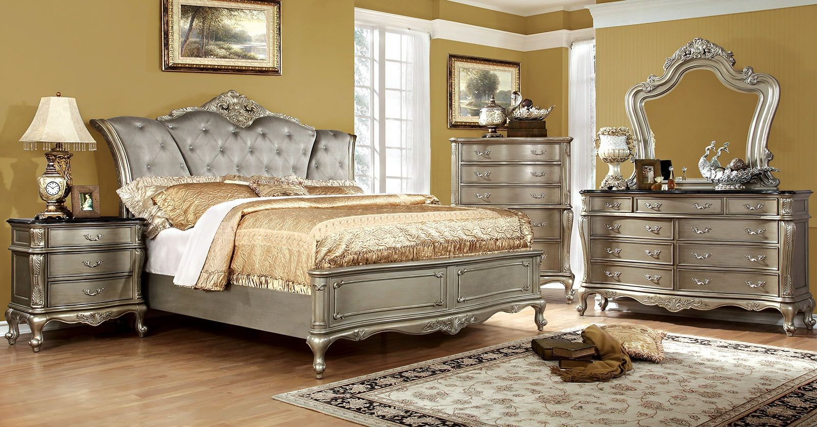 Johara gold upholstered bedroom set from furniture of for Furniture of america