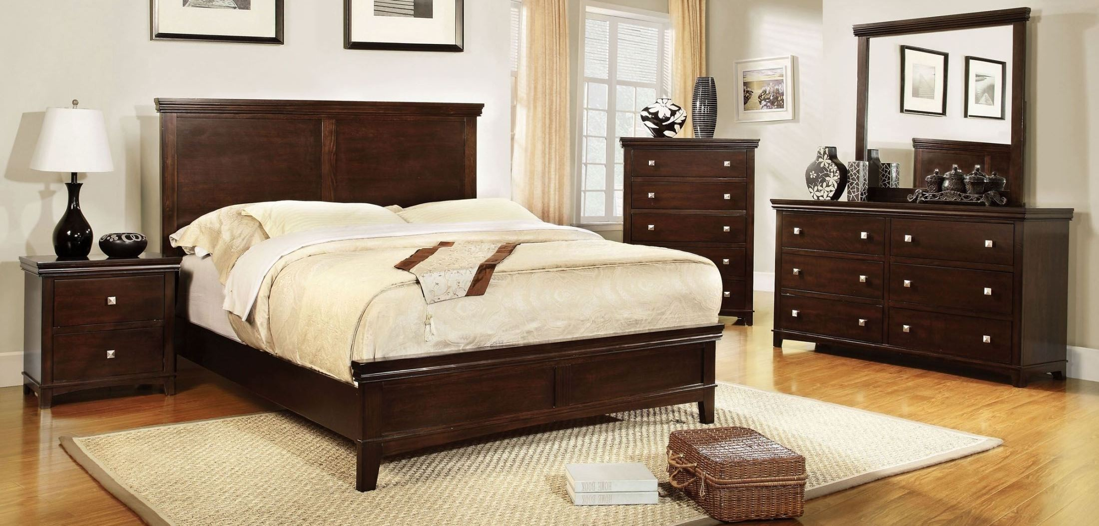 Spruce Brown Cherry Youth Panel Bedroom Set From Furniture