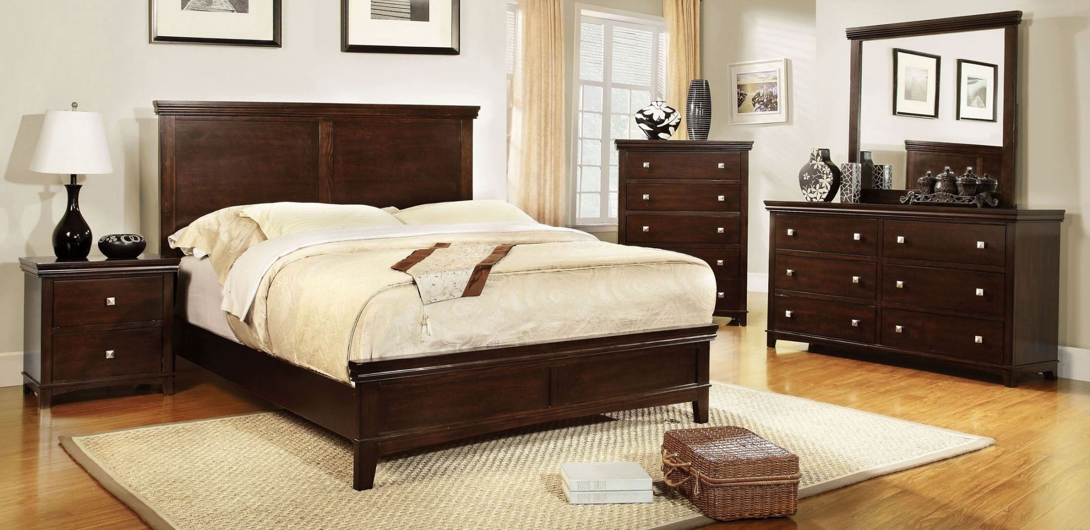 Spruce Brown Cherry Panel Bedroom Set From Furniture Of America Cm7113ch Q Bed Coleman Furniture
