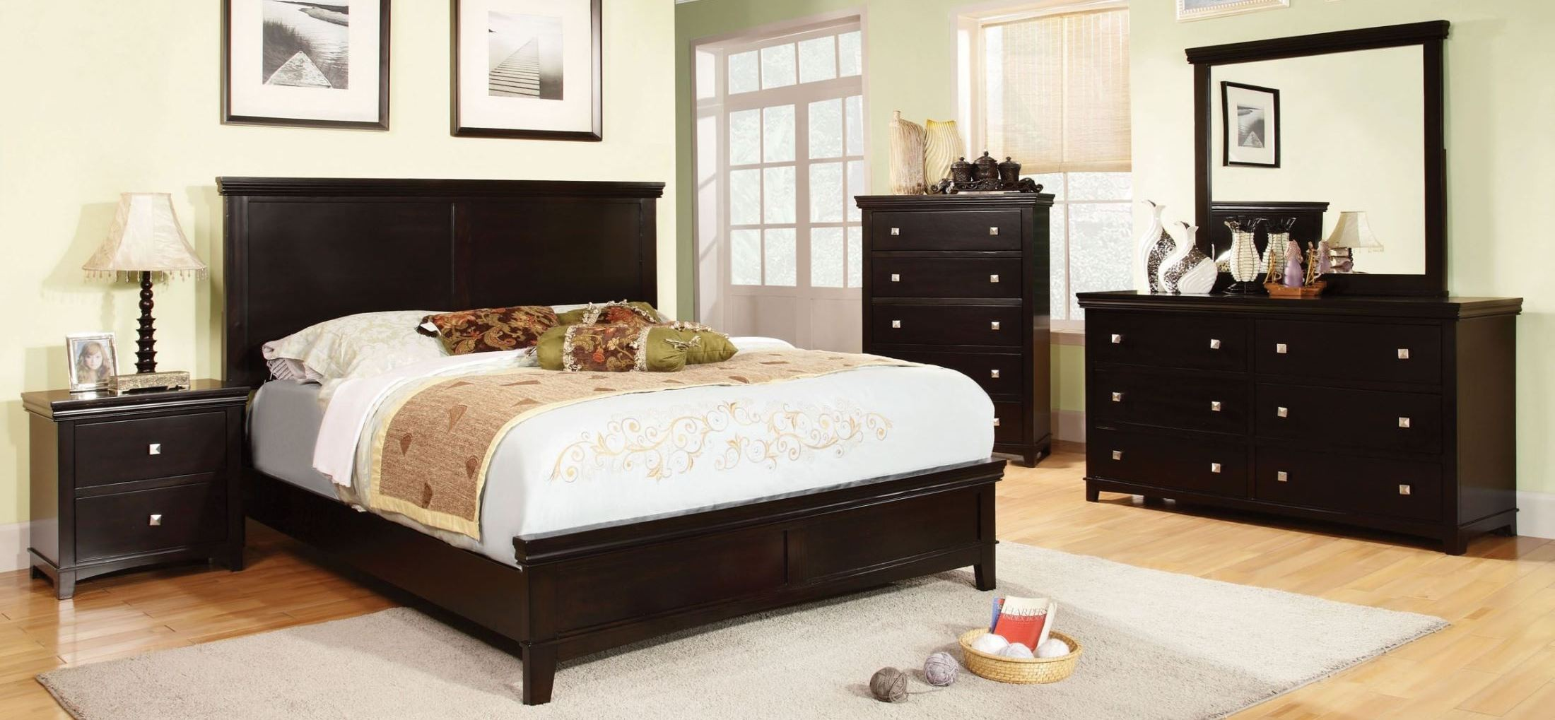 Spruce Espresso Panel Bedroom Set from Furniture of America CM7113EX Q BED