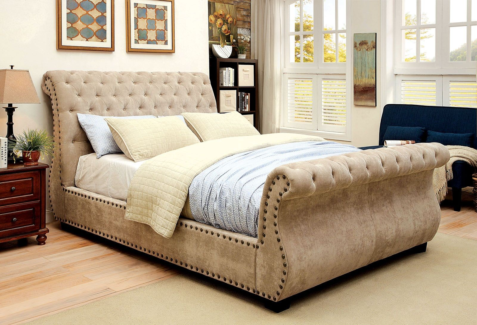 noemi cal king upholstered sleigh bed cm7127ck furniture of america. Black Bedroom Furniture Sets. Home Design Ideas