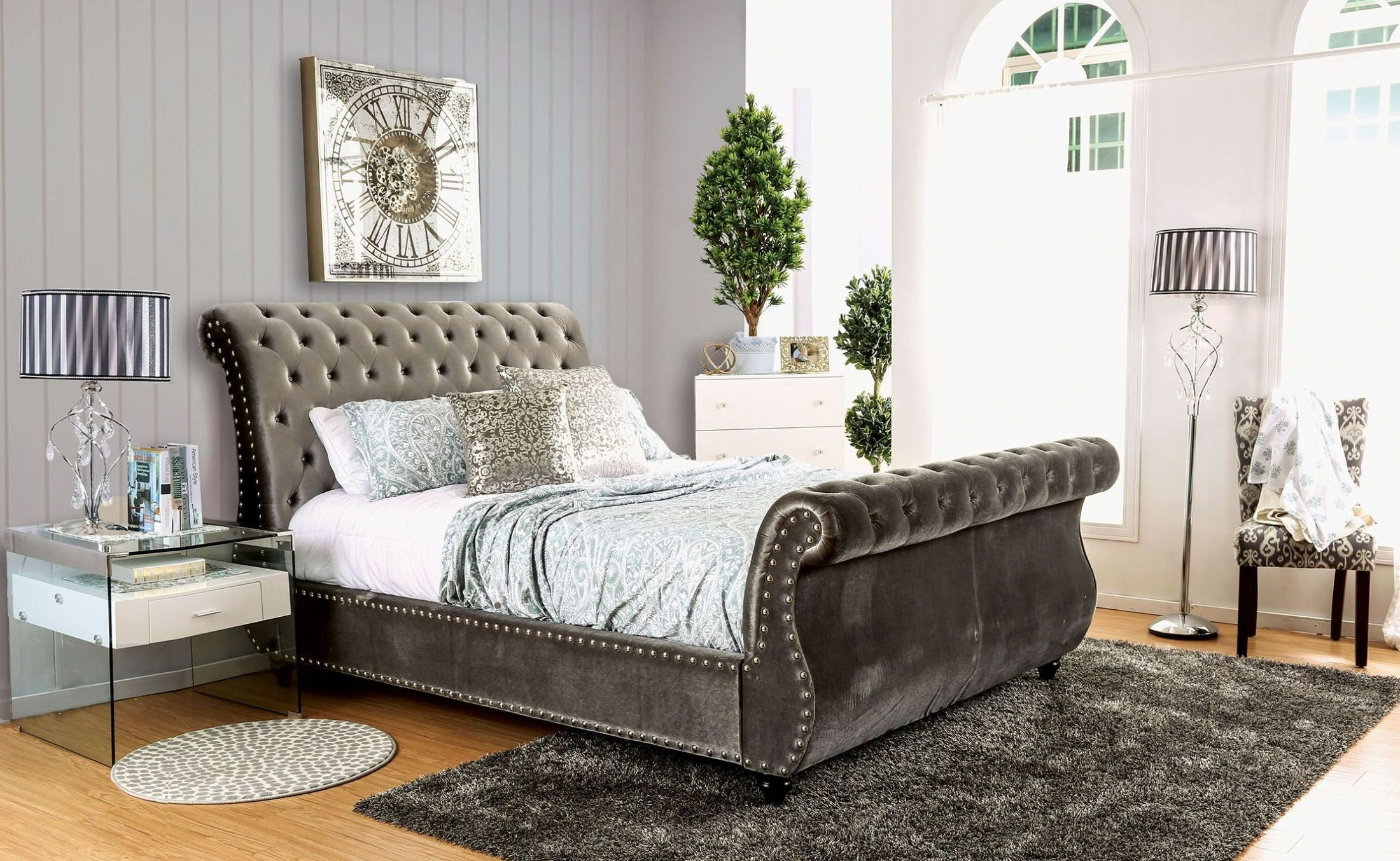 noella gray cal king upholstered sleigh bed cm7128gy ck furniture of america. Black Bedroom Furniture Sets. Home Design Ideas