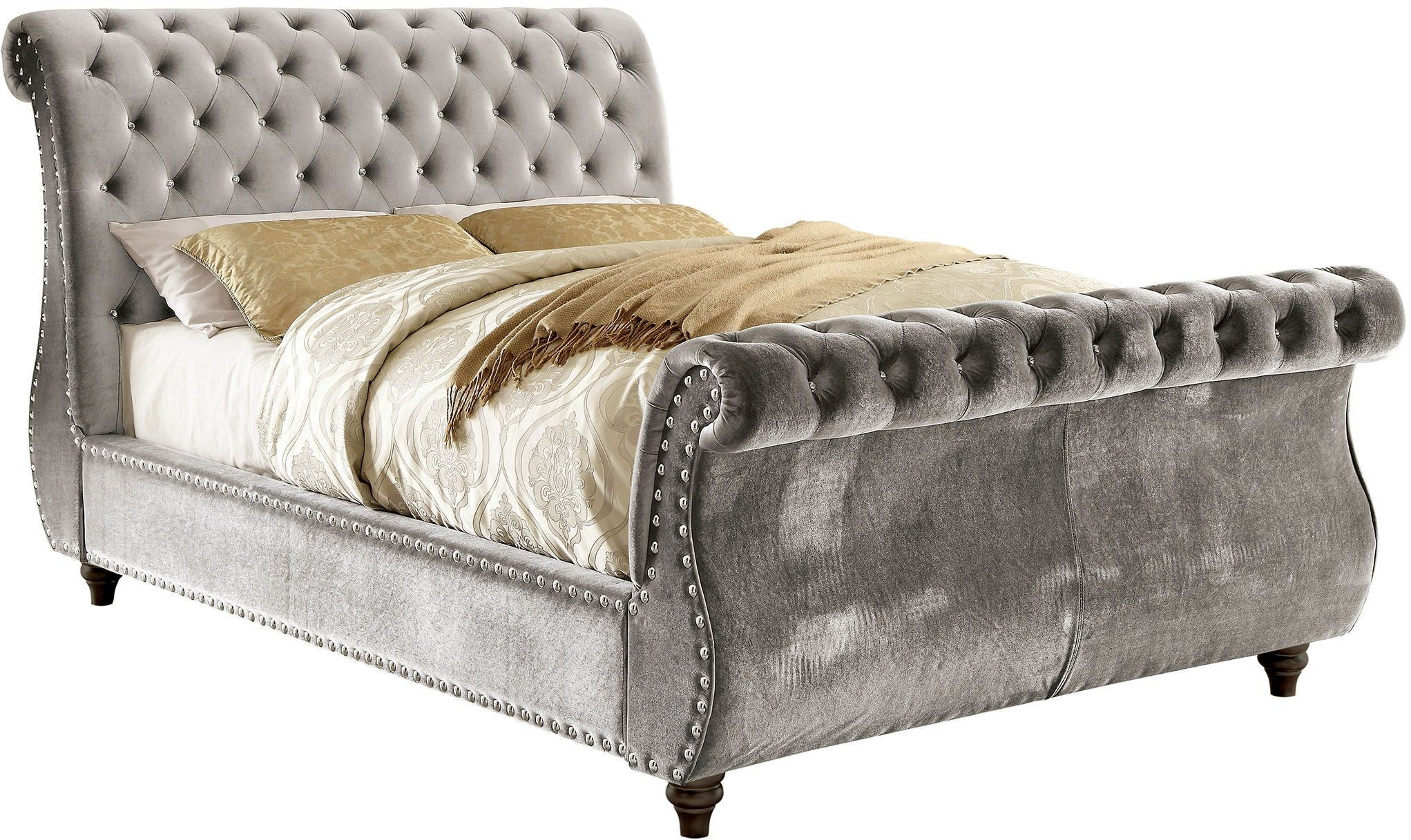 noella gray king upholstered sleigh bed cm7128gy ek furniture of america. Black Bedroom Furniture Sets. Home Design Ideas