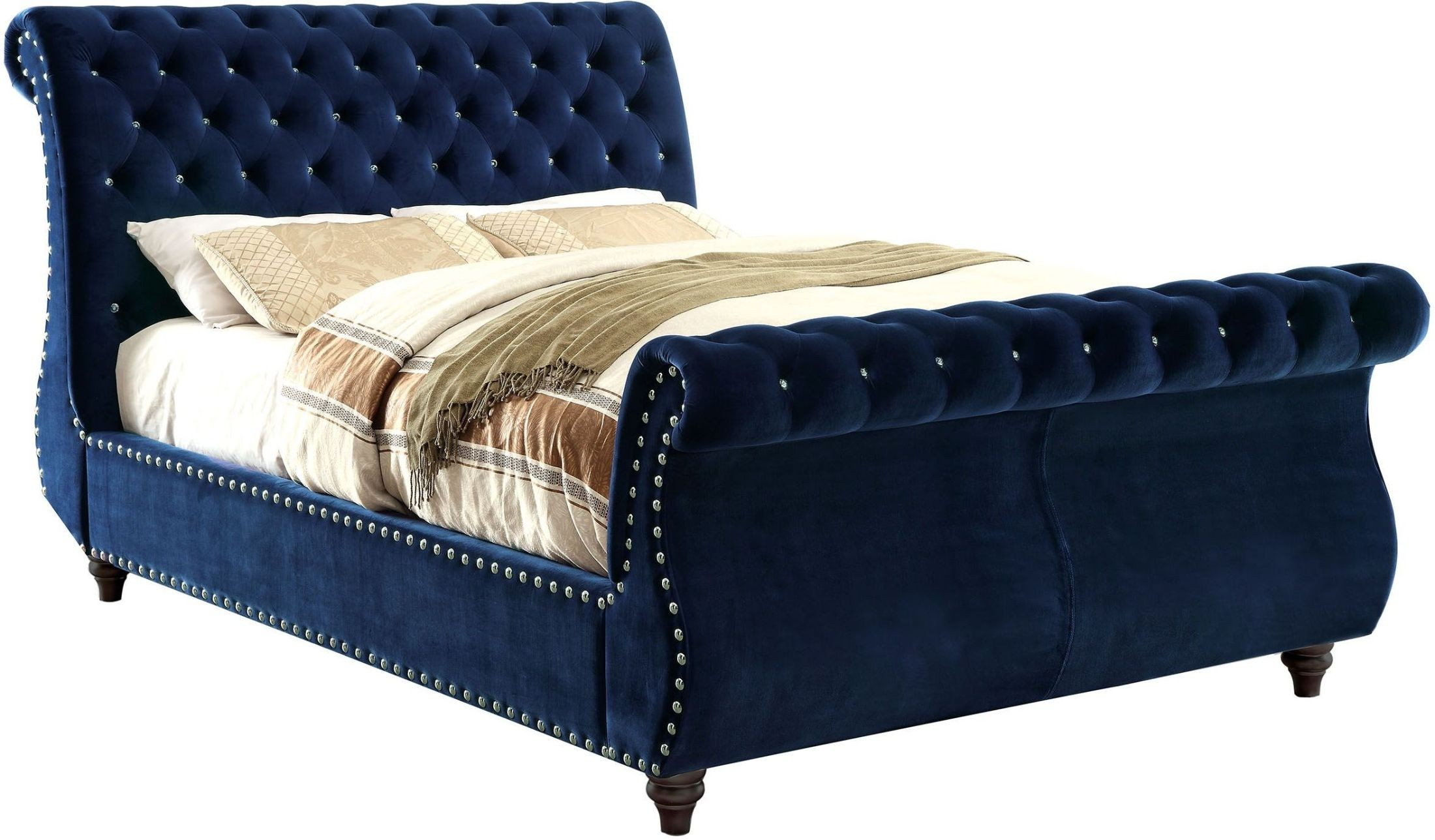 noella navy cal king upholstered sleigh bed cm7128nv ck furniture of america. Black Bedroom Furniture Sets. Home Design Ideas