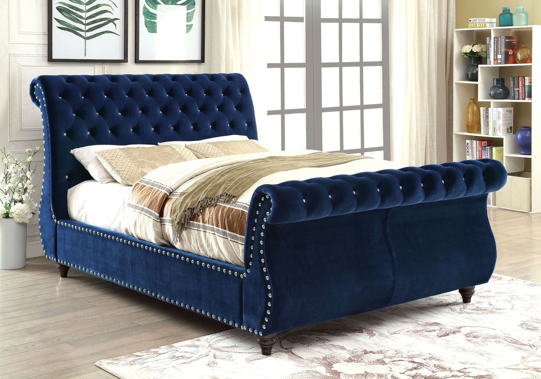 noella navy queen upholstered sleigh bed cm7128nv q furniture of america. Black Bedroom Furniture Sets. Home Design Ideas